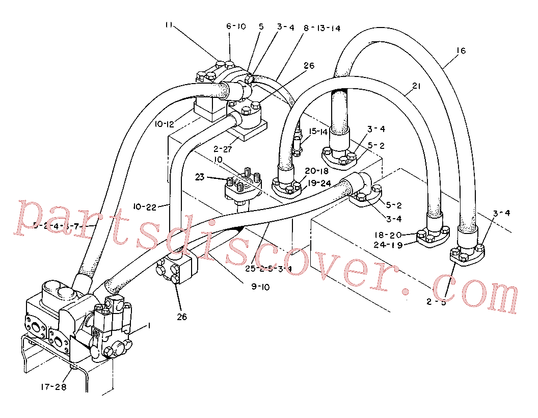 CAT 3V-9736 for 225D Excavator(EXC) hydraulic system 6W-4628 Assembly