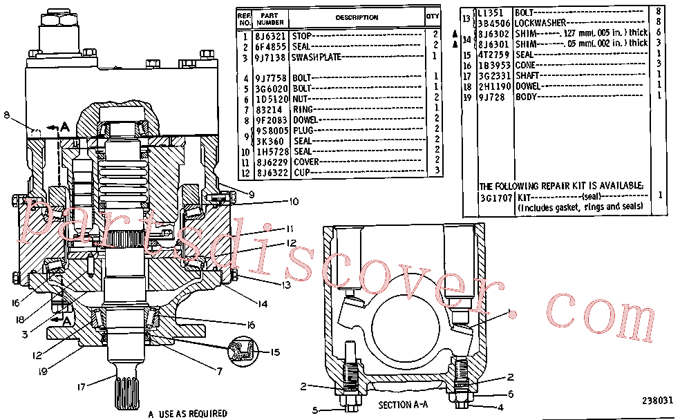 CAT 8S-3159 for 235B Excavator(EXC) hydraulic system 1U-4748 Assembly