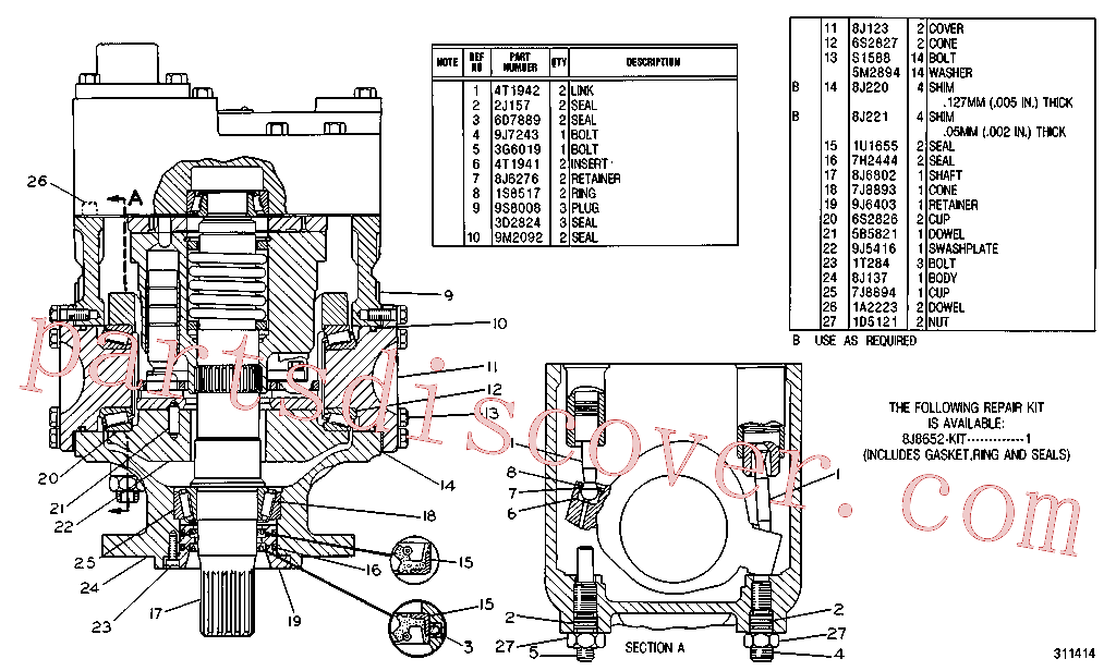 CAT 4T-3122 for 245 Excavator(EXC) hydraulic system 4T-7026 Assembly