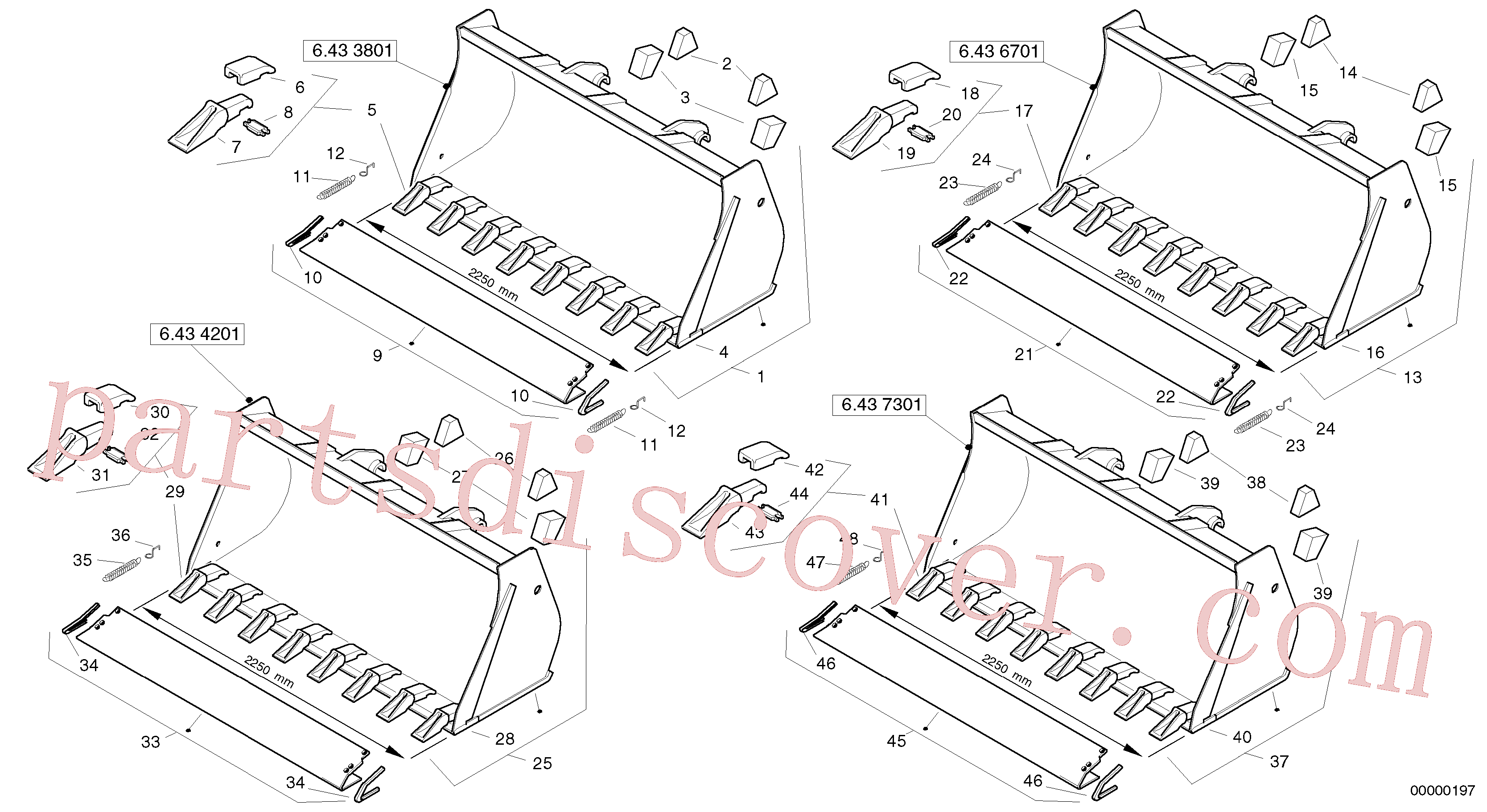 ZM4407561 for Volvo Bucket with teeth - Tpv(00000197 assembly)