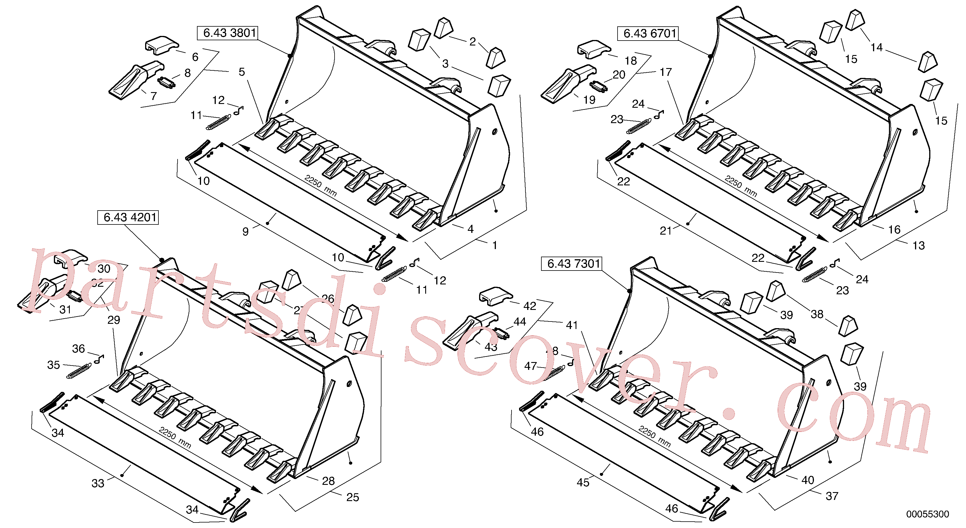 ZM4407561 for Volvo Bucket with teeth - TPV(00055300 assembly)