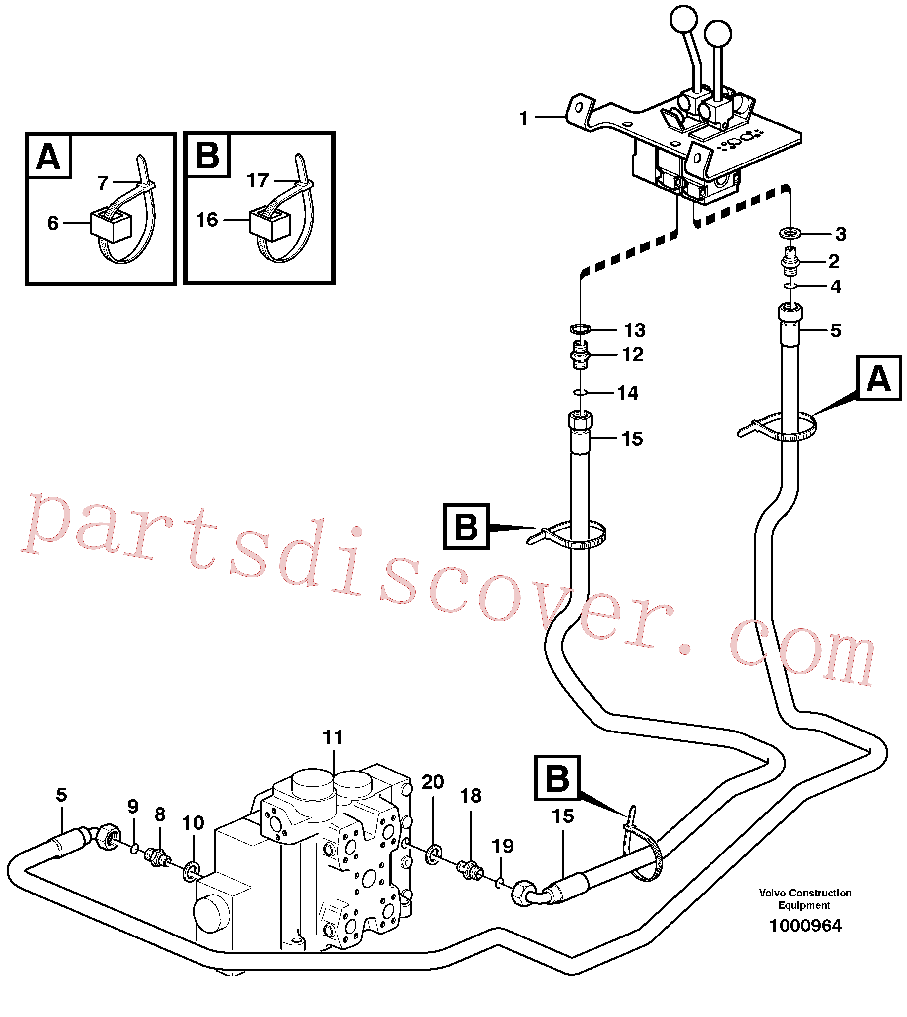 VOE936711 for Volvo Servo - hydraulic, control lines, lift(1000964 assembly)