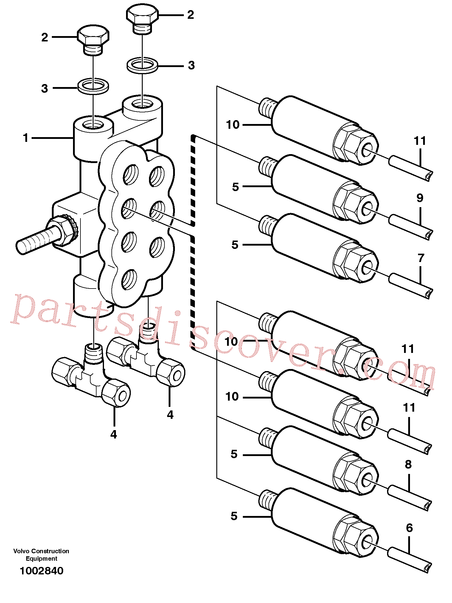 VOE192598 for Volvo Distribution block, B1.(1002840 assembly)