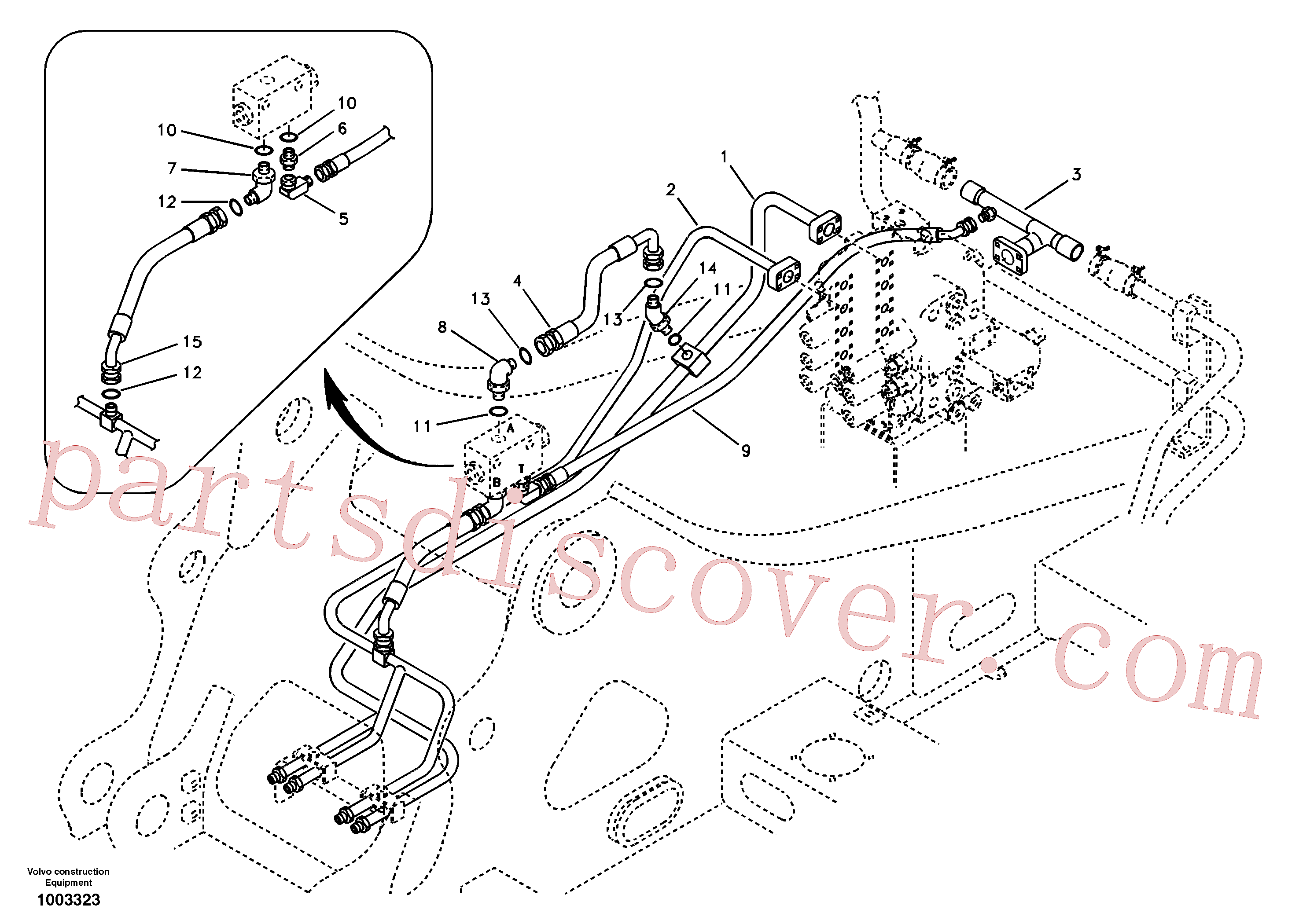SA9419-31030 for Volvo Hydraulic system, control valve to boom and swing(1003323 assembly)
