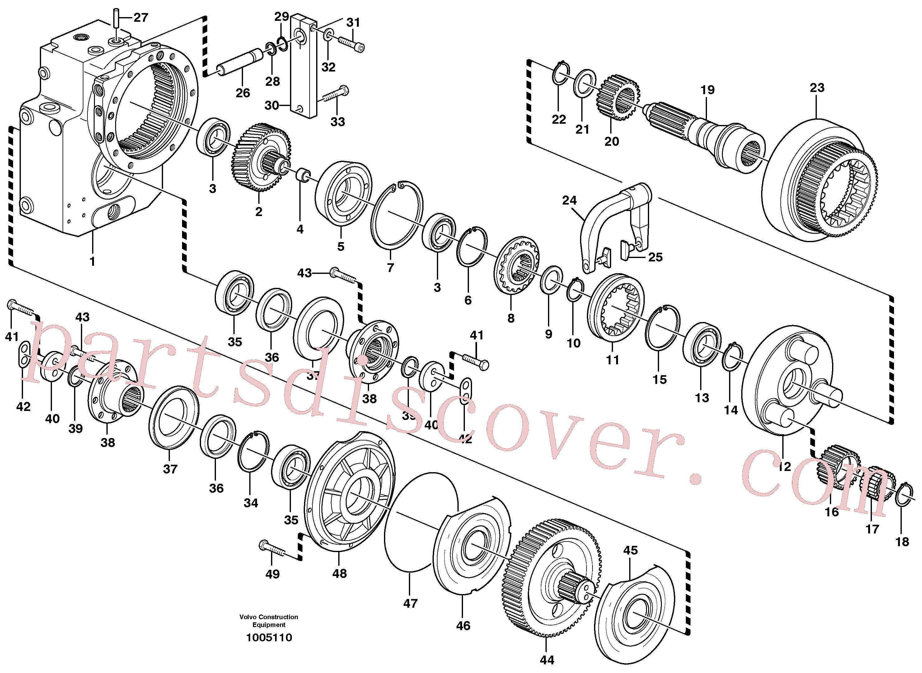 SA8220-02810 for Volvo Transfer case, gears and shafts(1005110 assembly)