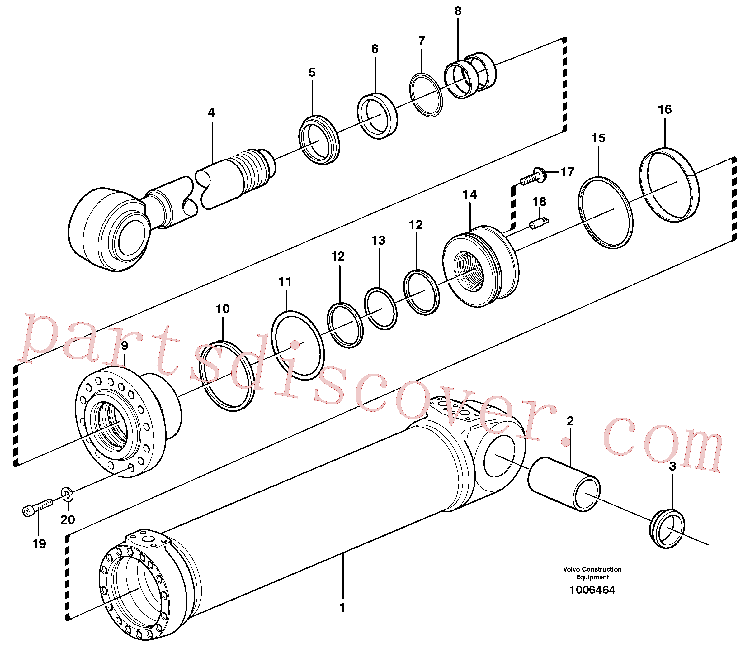 VOE14370999 for Volvo Hydraulic cylinder, tilting(1006464 assembly)