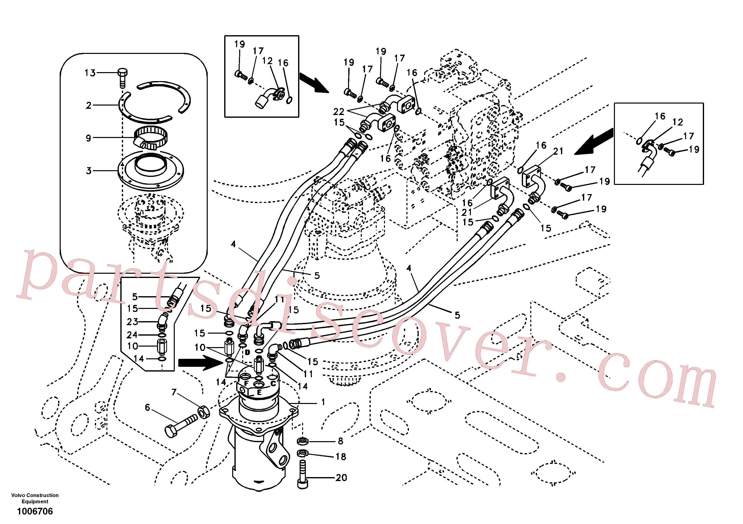 SA9419-31030 for Volvo Turning joint line, control valve to turning joint(1006706 assembly)