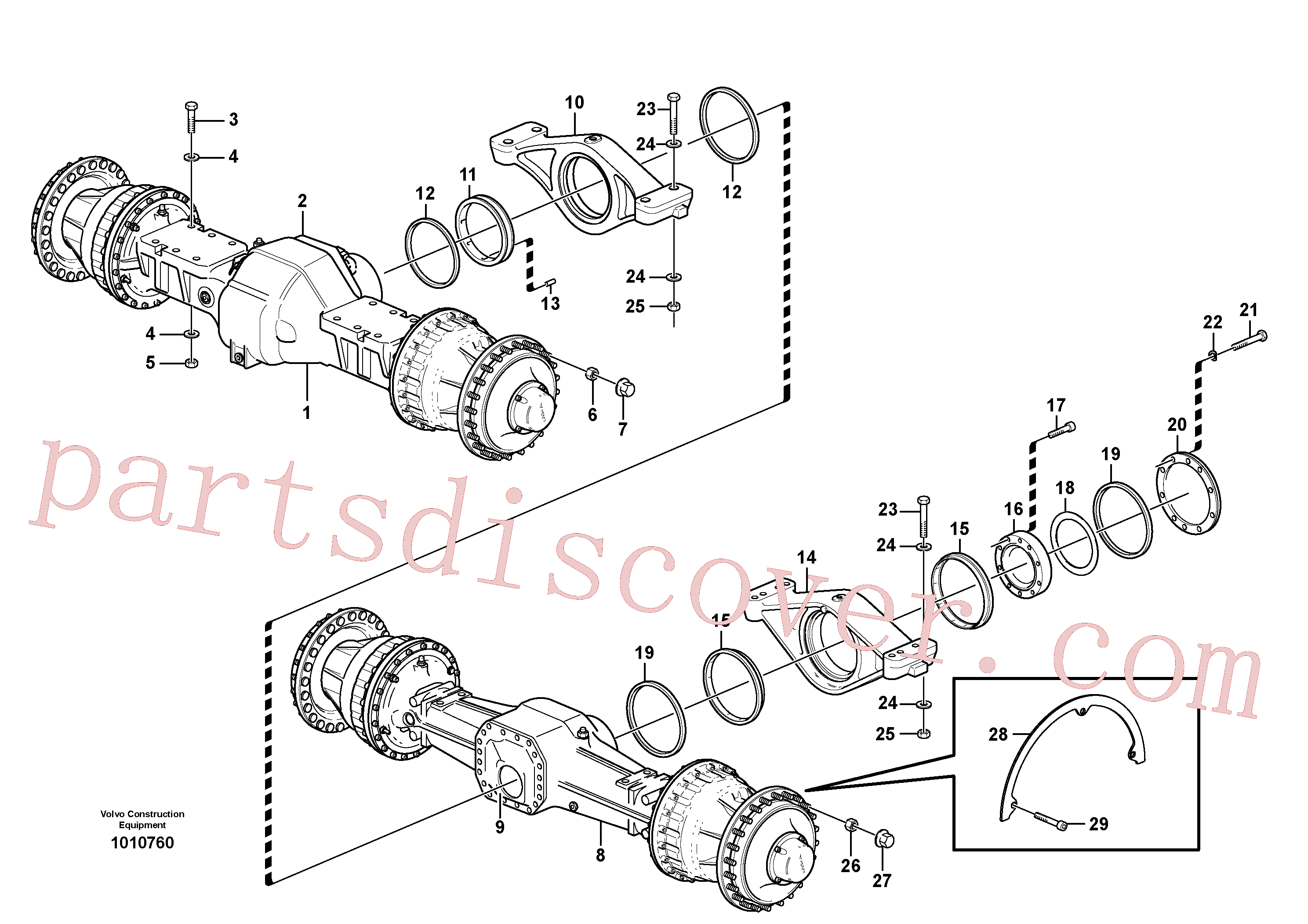 MI963059 for Volvo Planet axles with fitting parts(1010760 assembly)