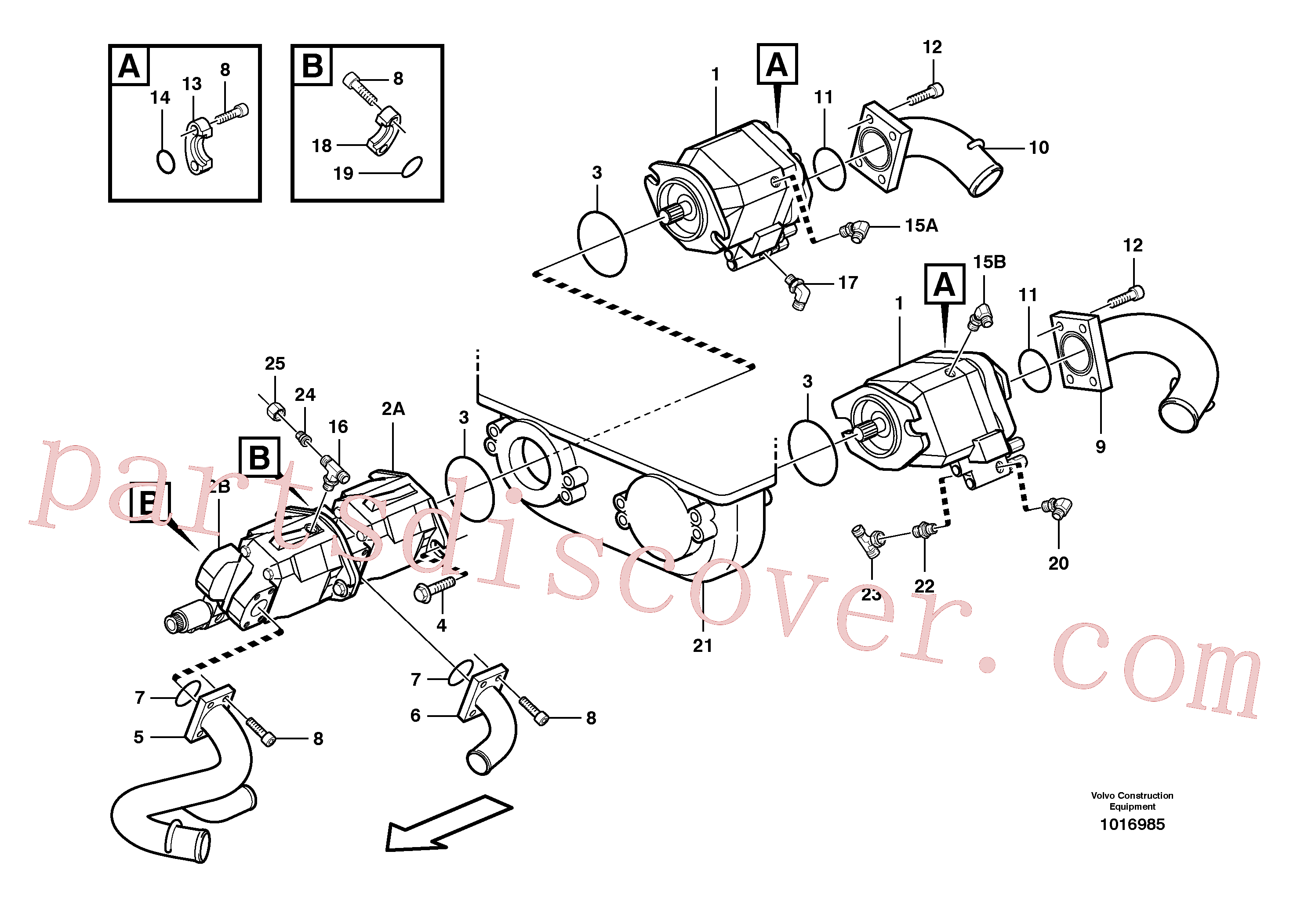 VOE932041 for Volvo Hydraulic pump with fitting parts(1016985 assembly)