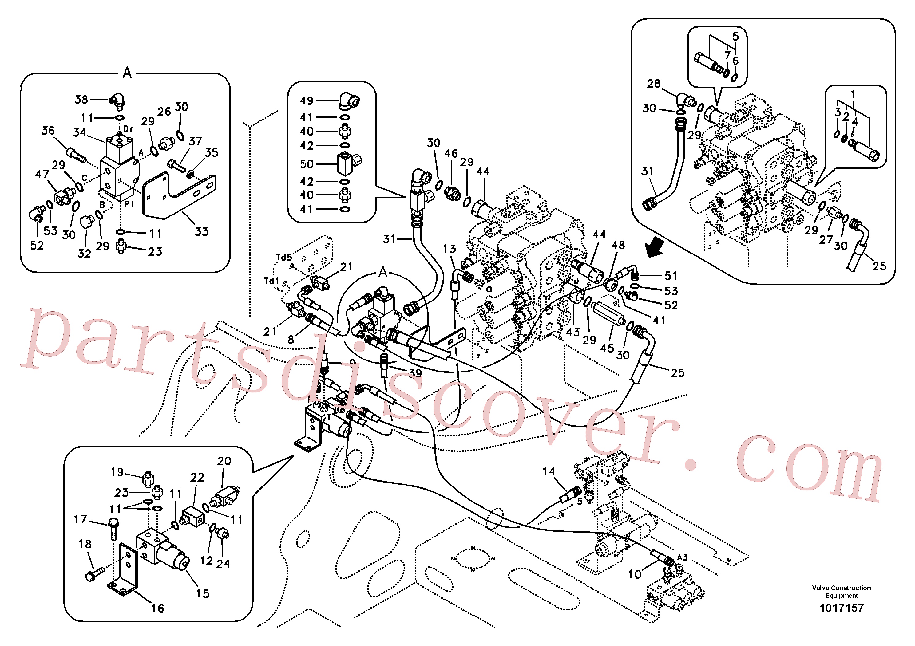 SA7270-11220 for Volvo Working hydraulic, hammer and shear for 2nd pump flow(1017157 assembly)