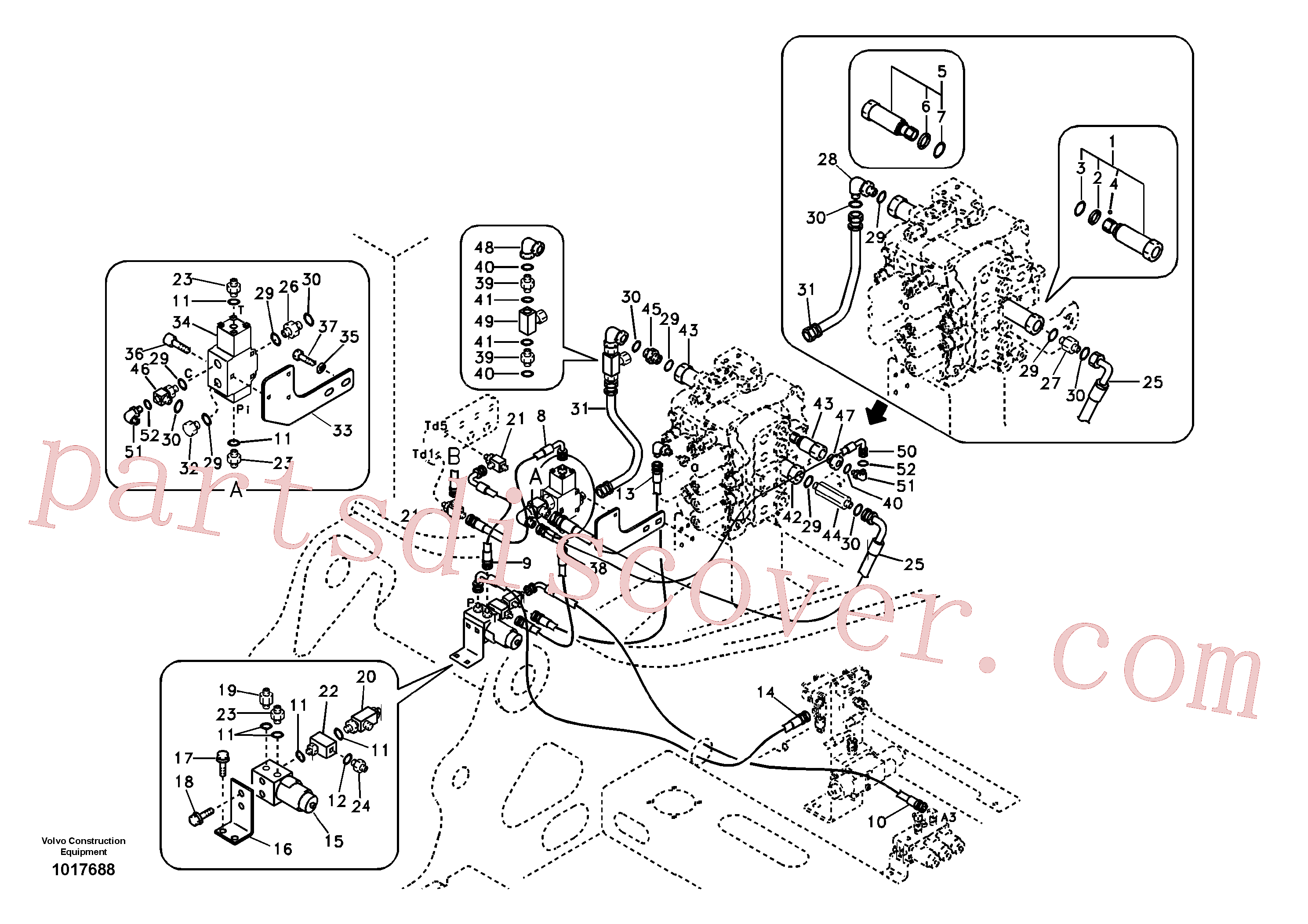 SA7270-11220 for Volvo Working hydraulic, hammer and shear for 2nd pump flow(1017688 assembly)