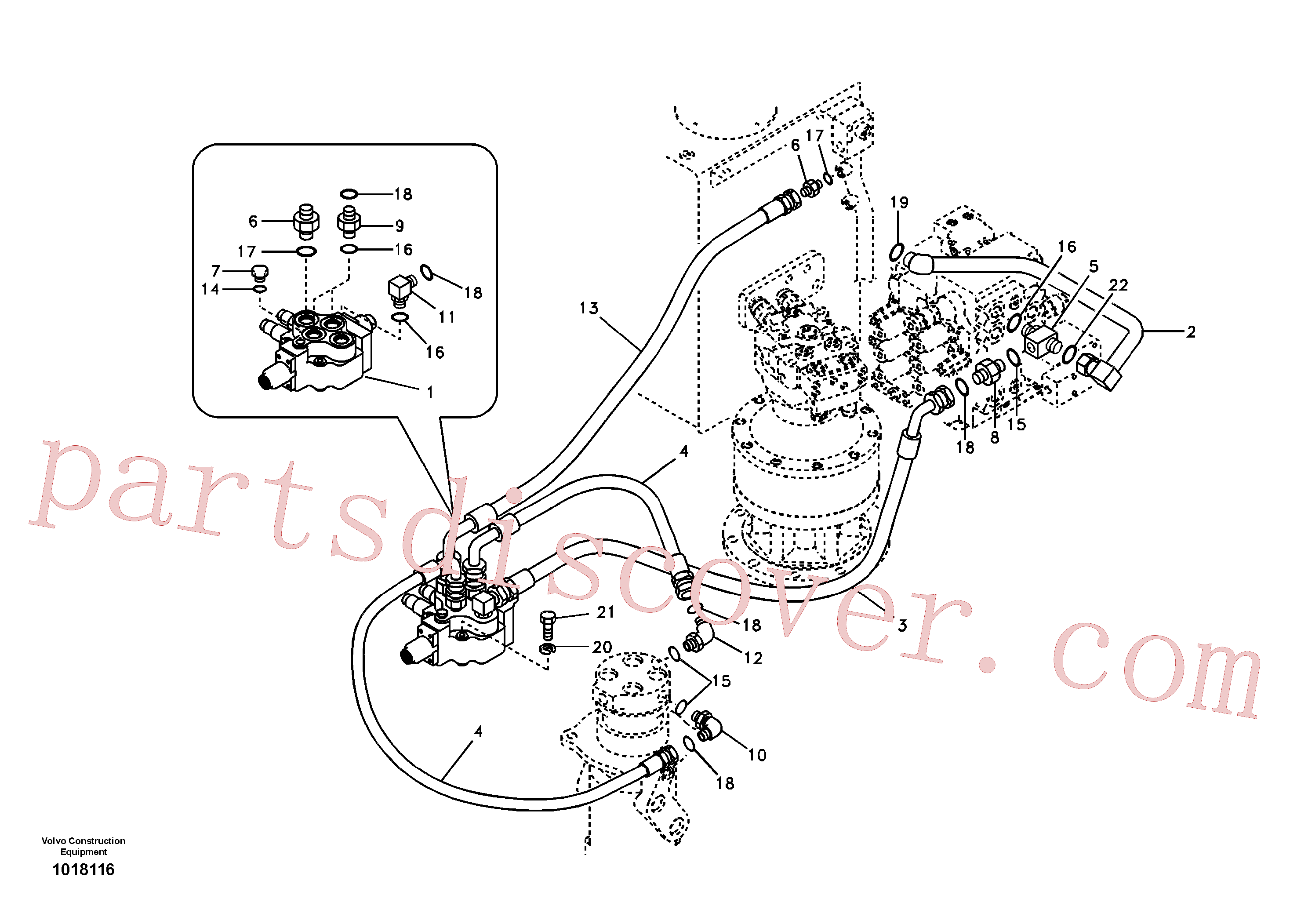 SA9452-05223 for Volvo Working hydraulic, dozer blade(1018116 assembly)
