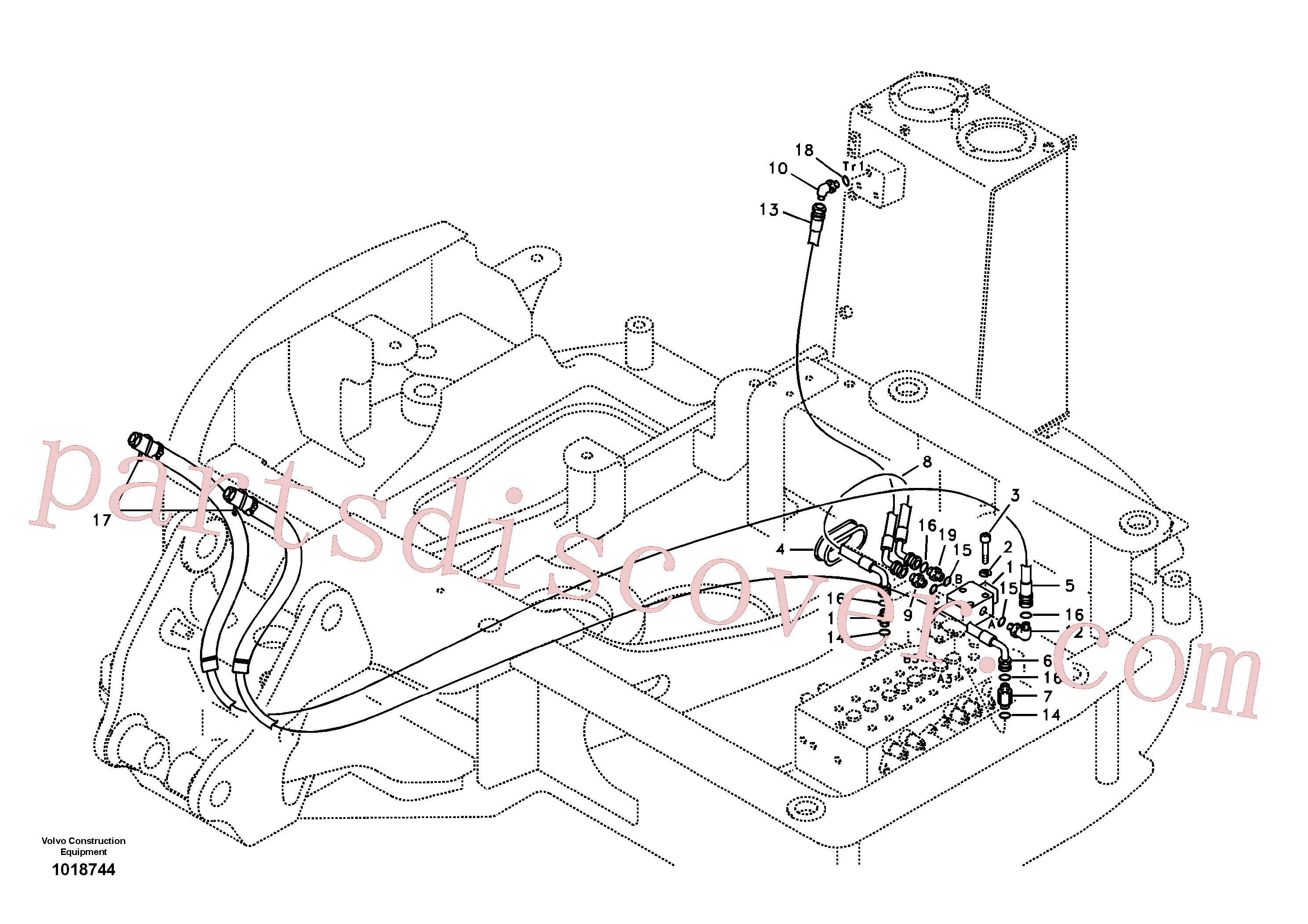 VOE14881515 for Volvo Servo hydraulics, hammer hydr. on base machine(1018744 assembly)