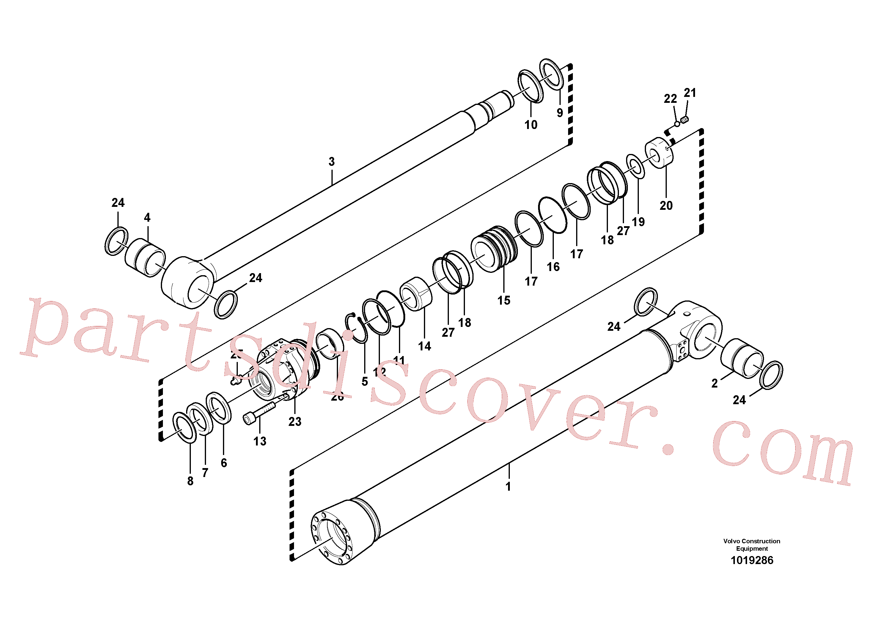 SA9676-71600 for Volvo Dipper arm cylinder(1019286 assembly)