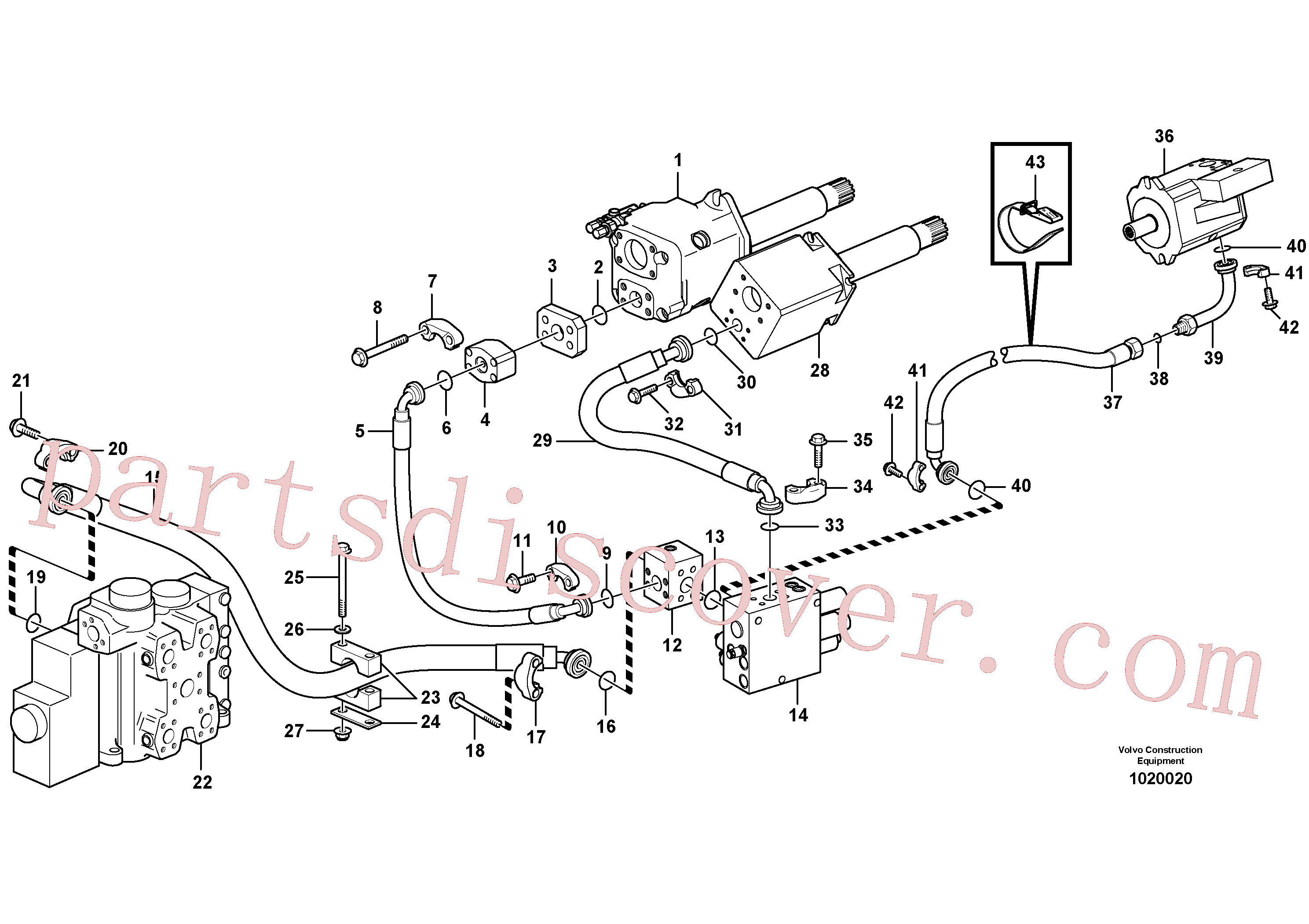 VOE14048189 for Volvo Hydraulic system, feed line(1020020 assembly)