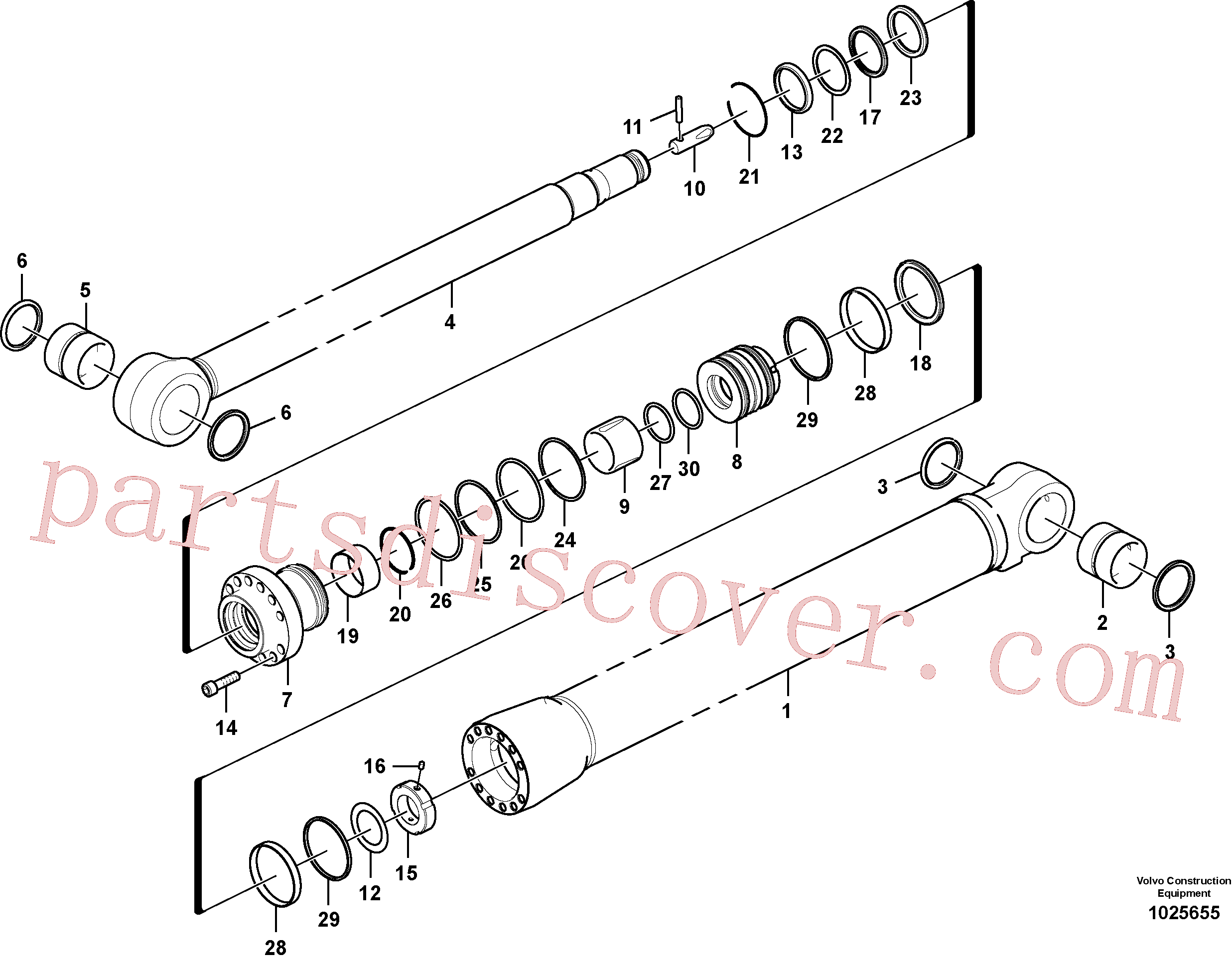VOE14589537 for Volvo Dipper arm cylinder(1025655 assembly)