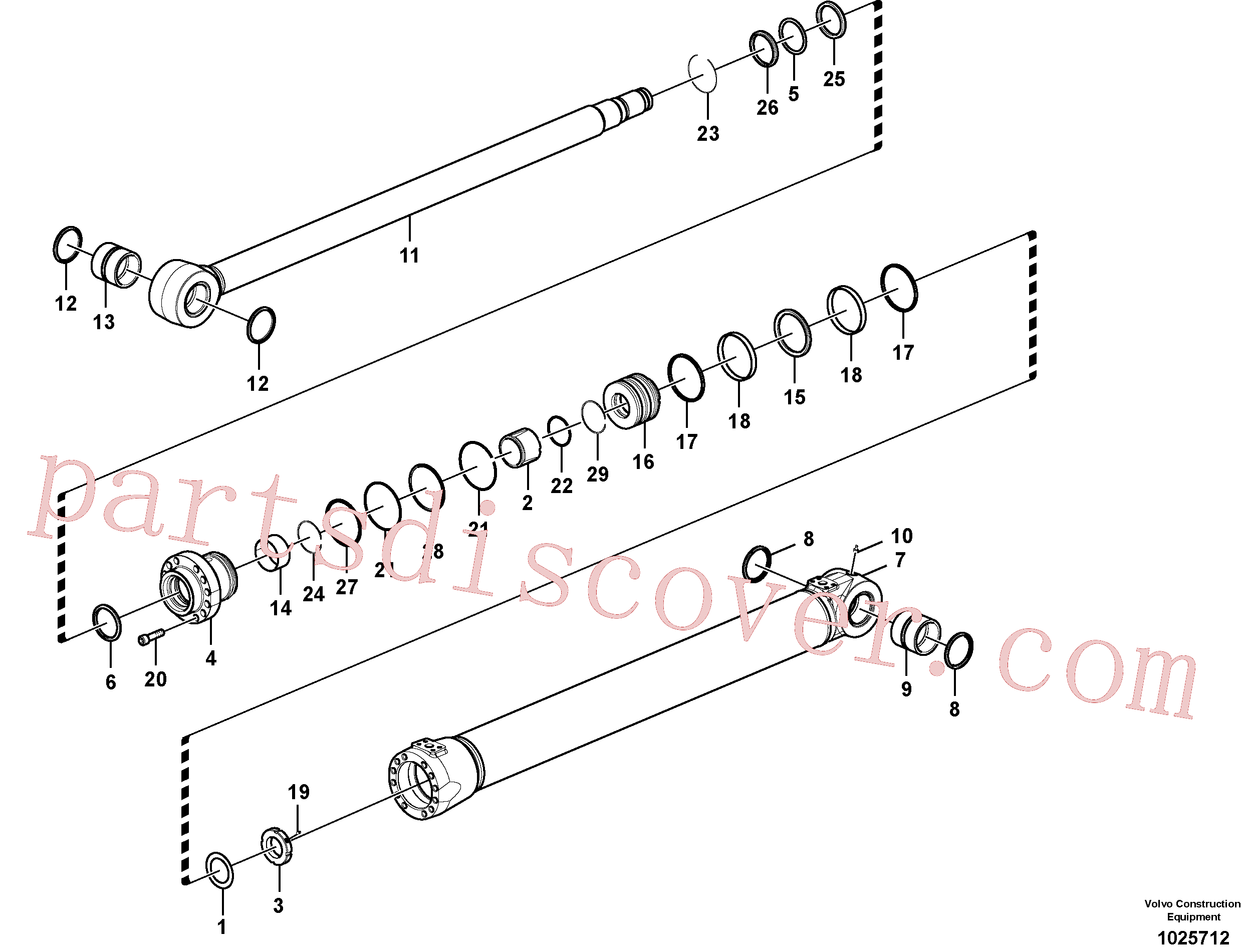 VOE14550418 for Volvo Boom cylinder(1025712 assembly)