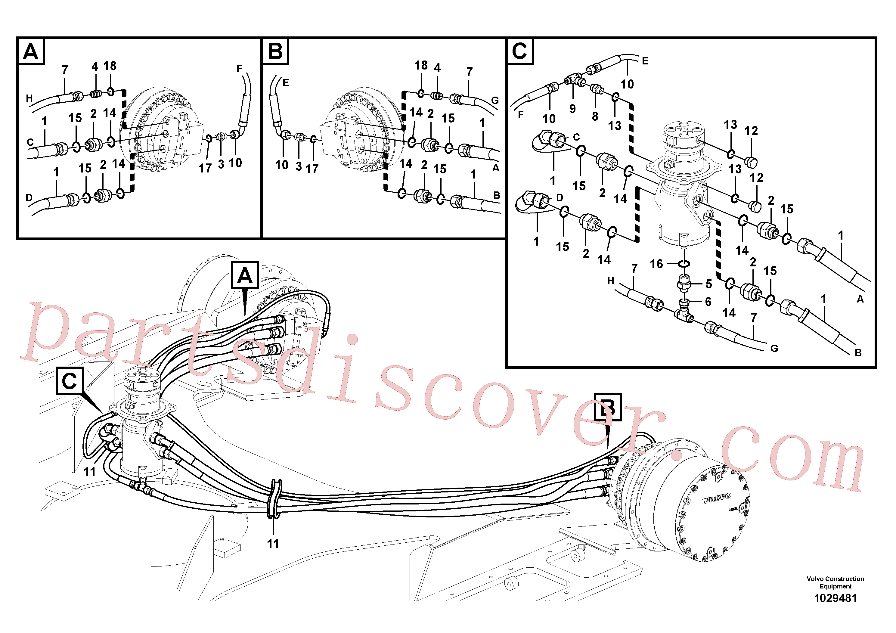 VOE937178 for Volvo Turning joint line, turning joint to travel motor(1029481 assembly)