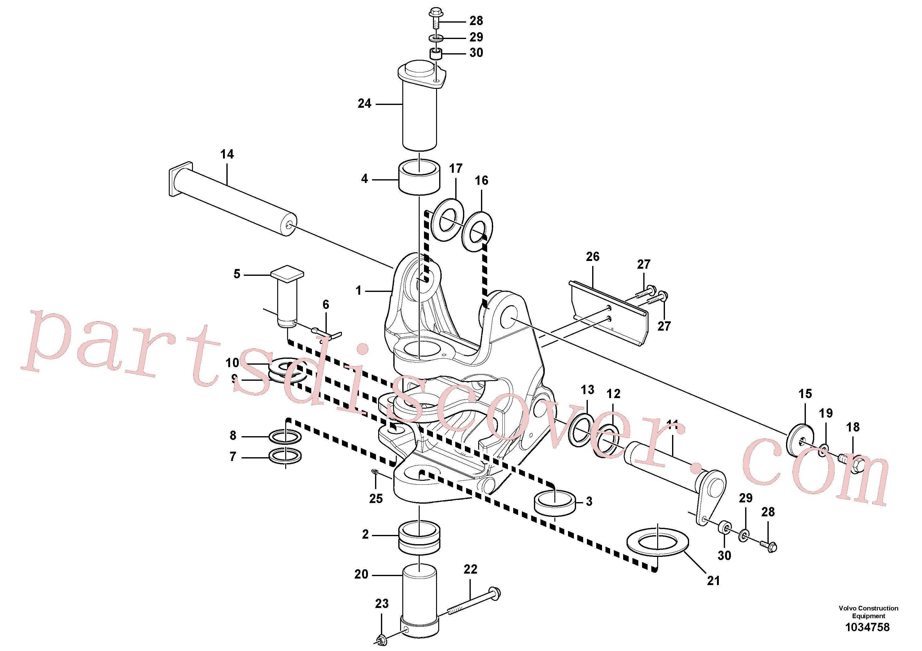 VOE15625513 for Volvo Pivot pin(1034758 assembly)