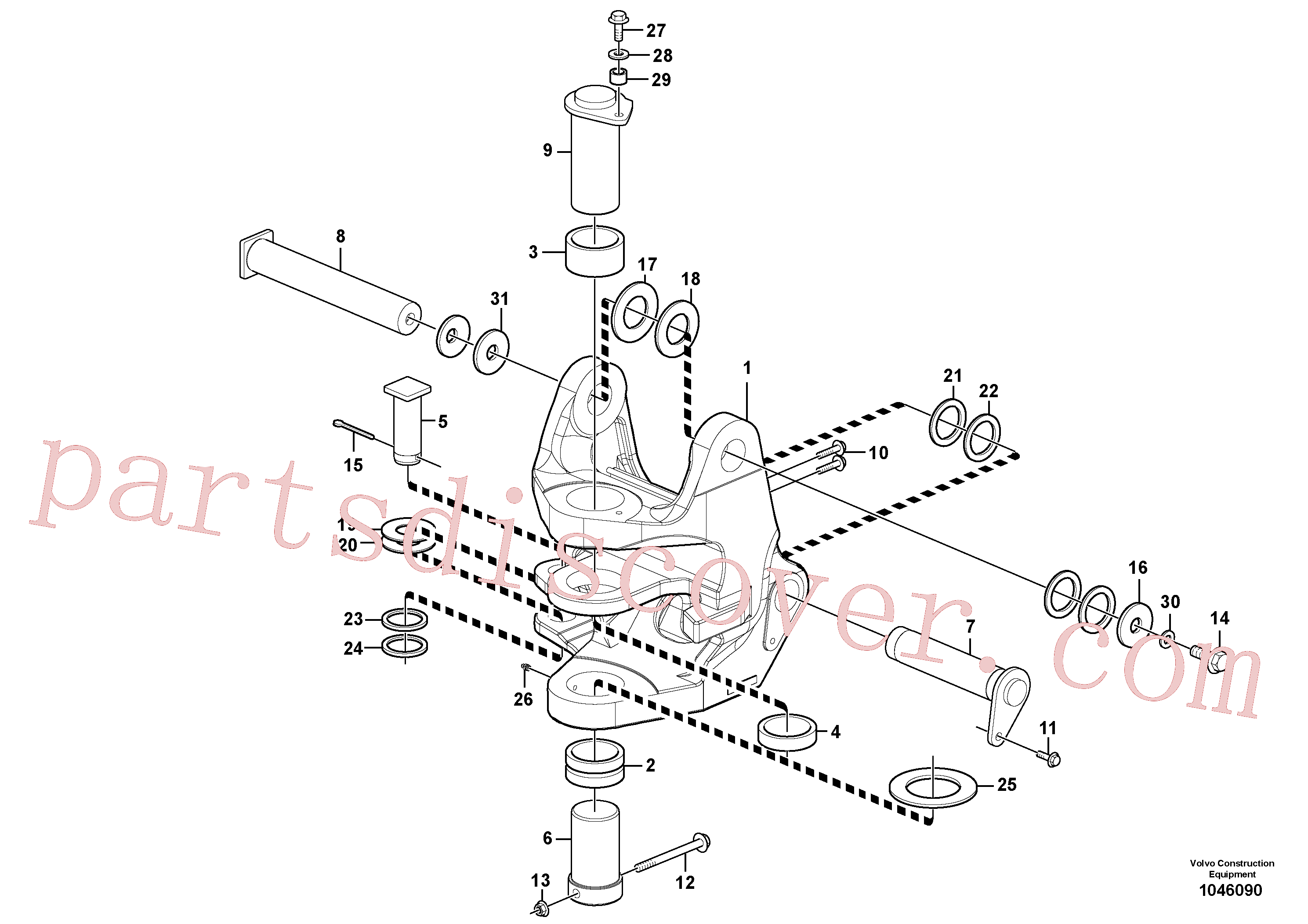 VOE11807511 for Volvo Pivot pin(1046090 assembly)