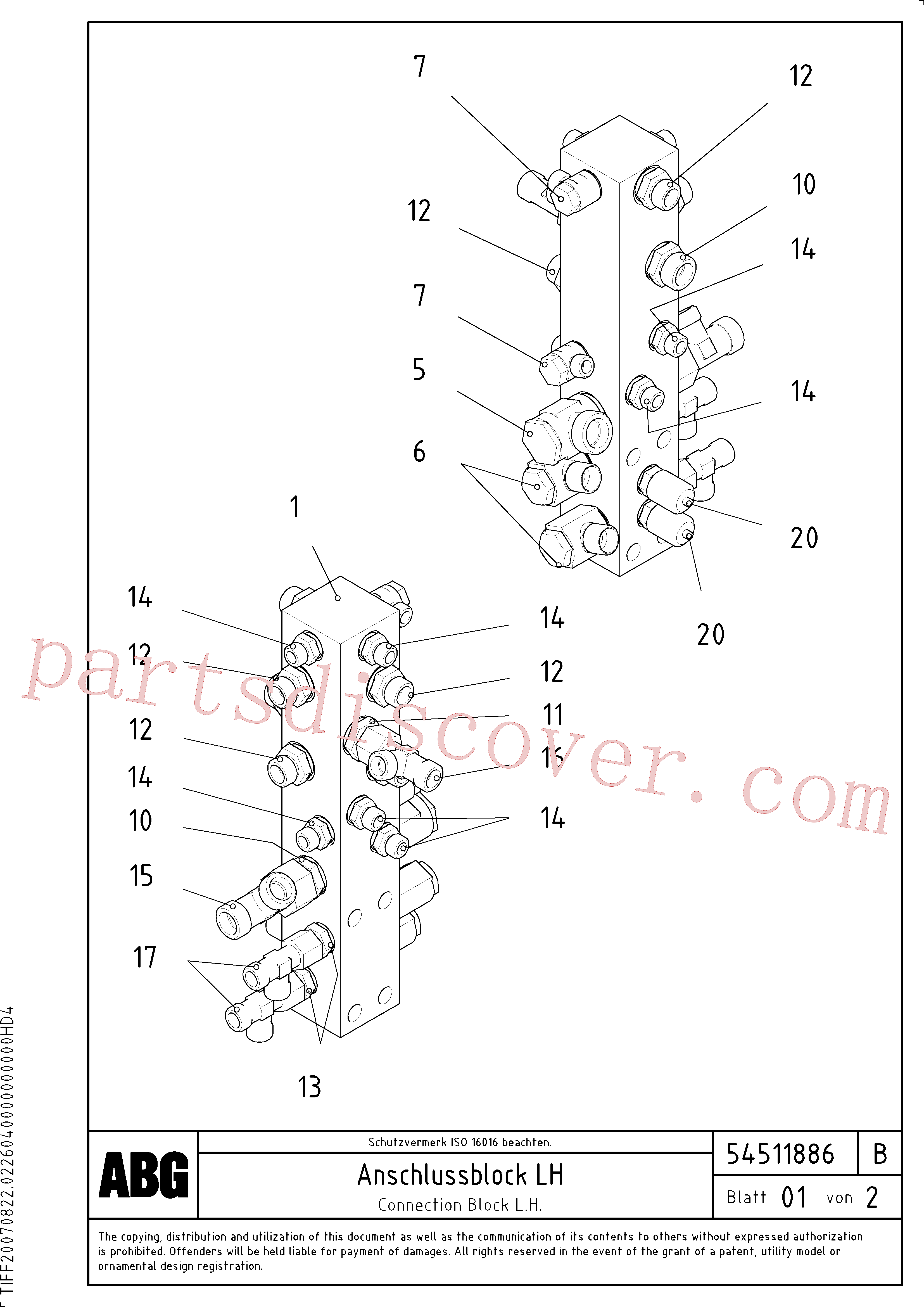 RM14090401 for Volvo Connection block on basic screed(1046662 assembly)
