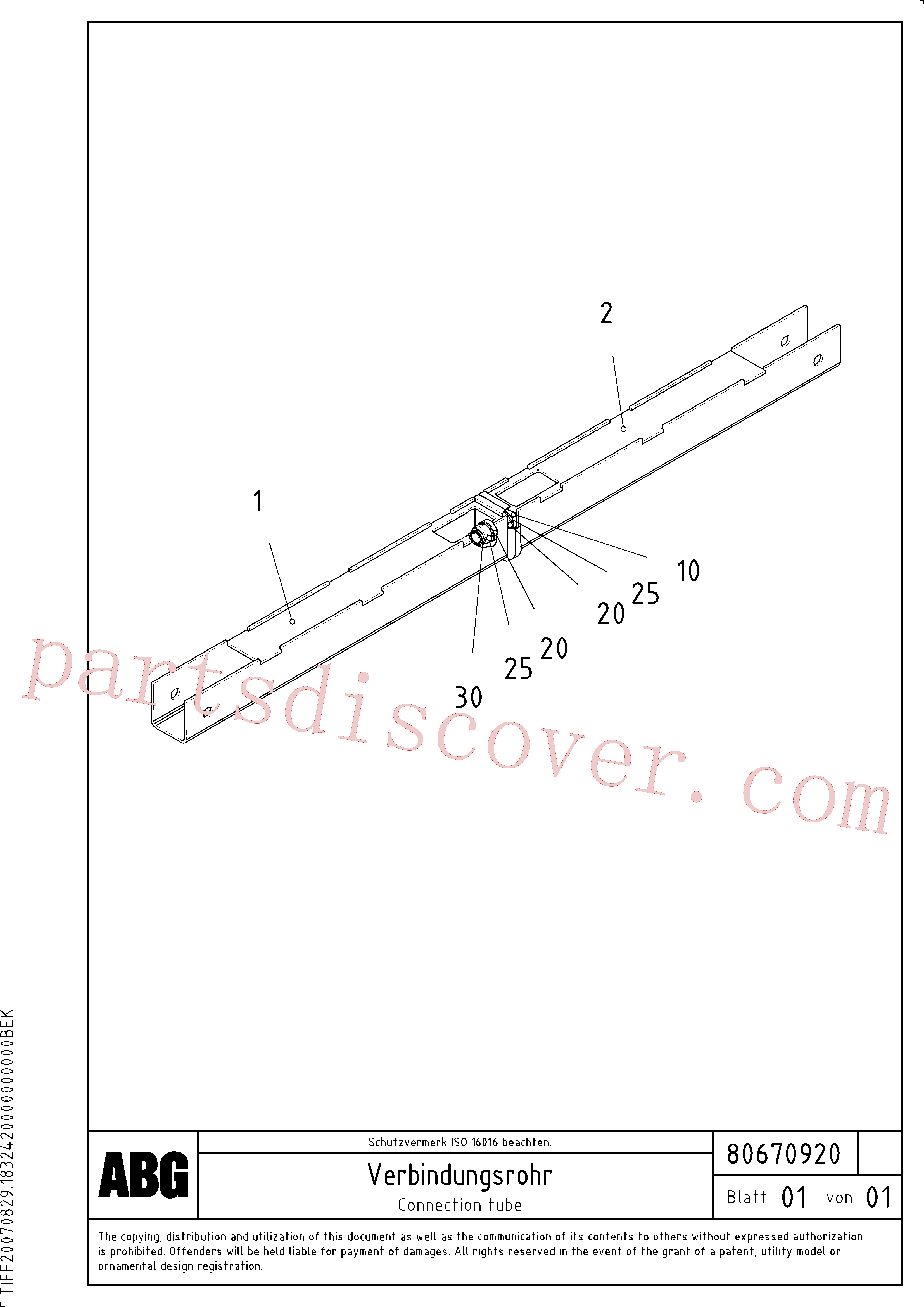 RM14093900 for Volvo Connection tube for flapable lateral limitation(1047057 assembly)