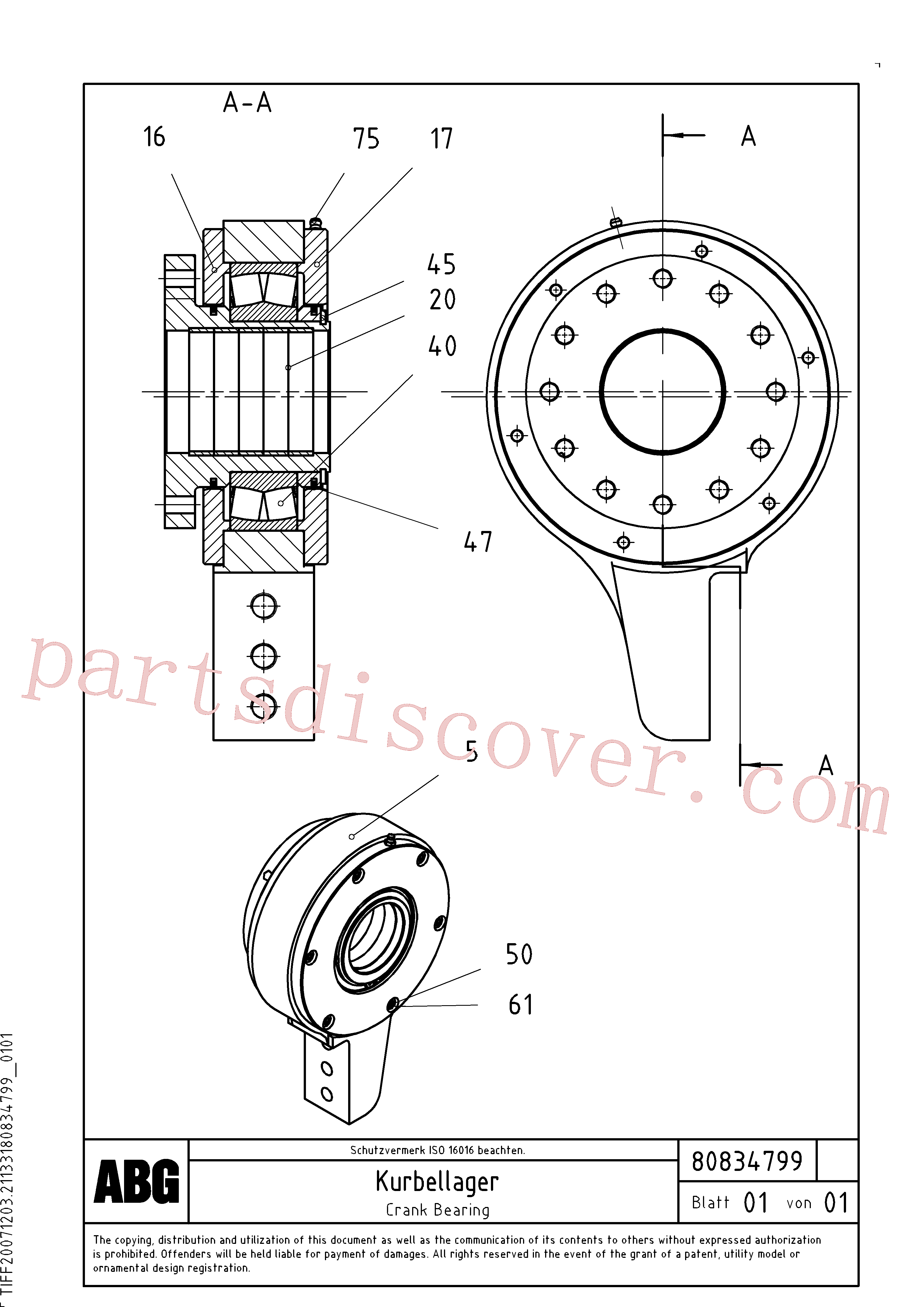 RM87902227 for Volvo Crank bearing for basic screed(1047636 assembly)