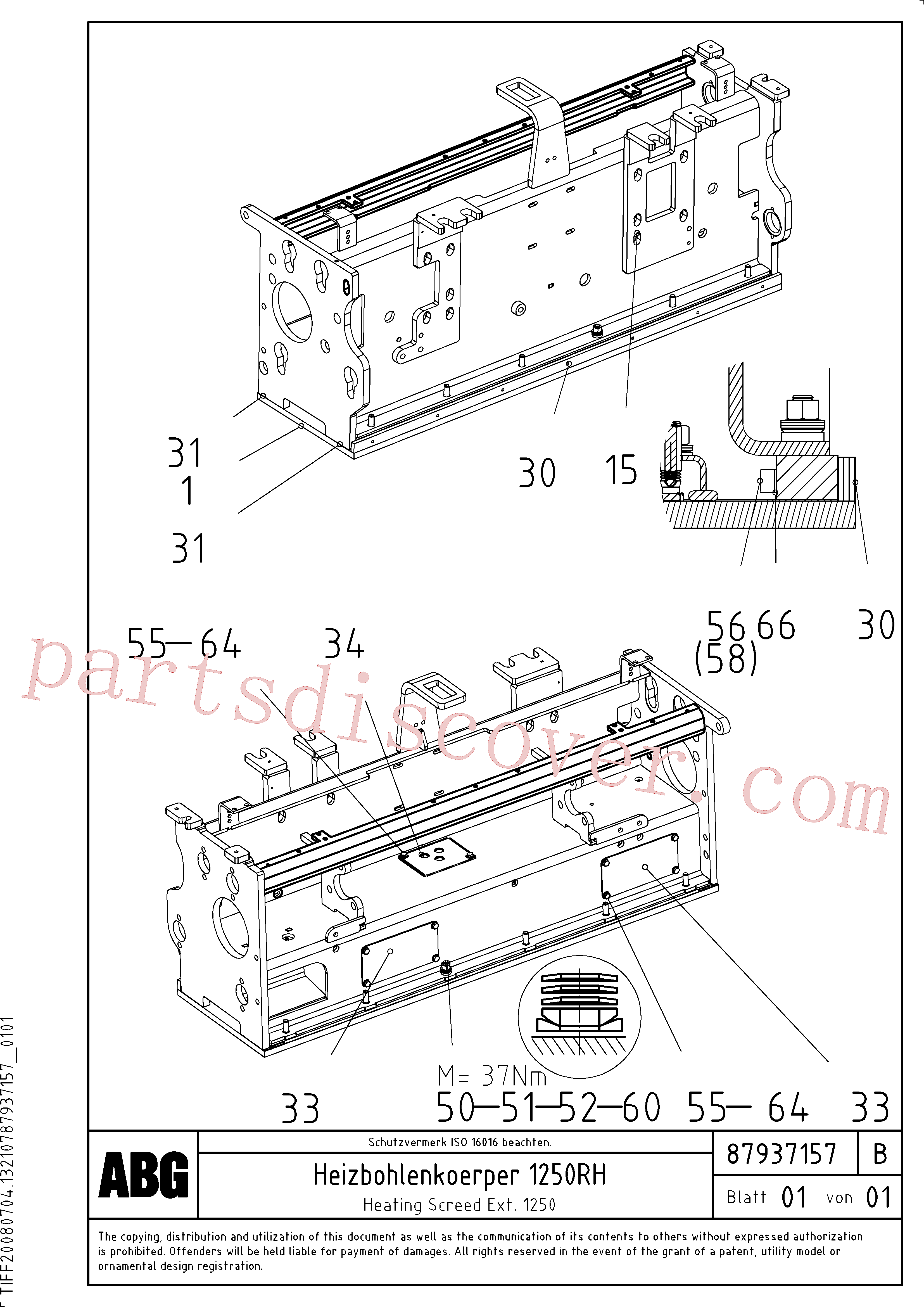 RM87937249 for Volvo Heating screed extension(1047899 assembly)