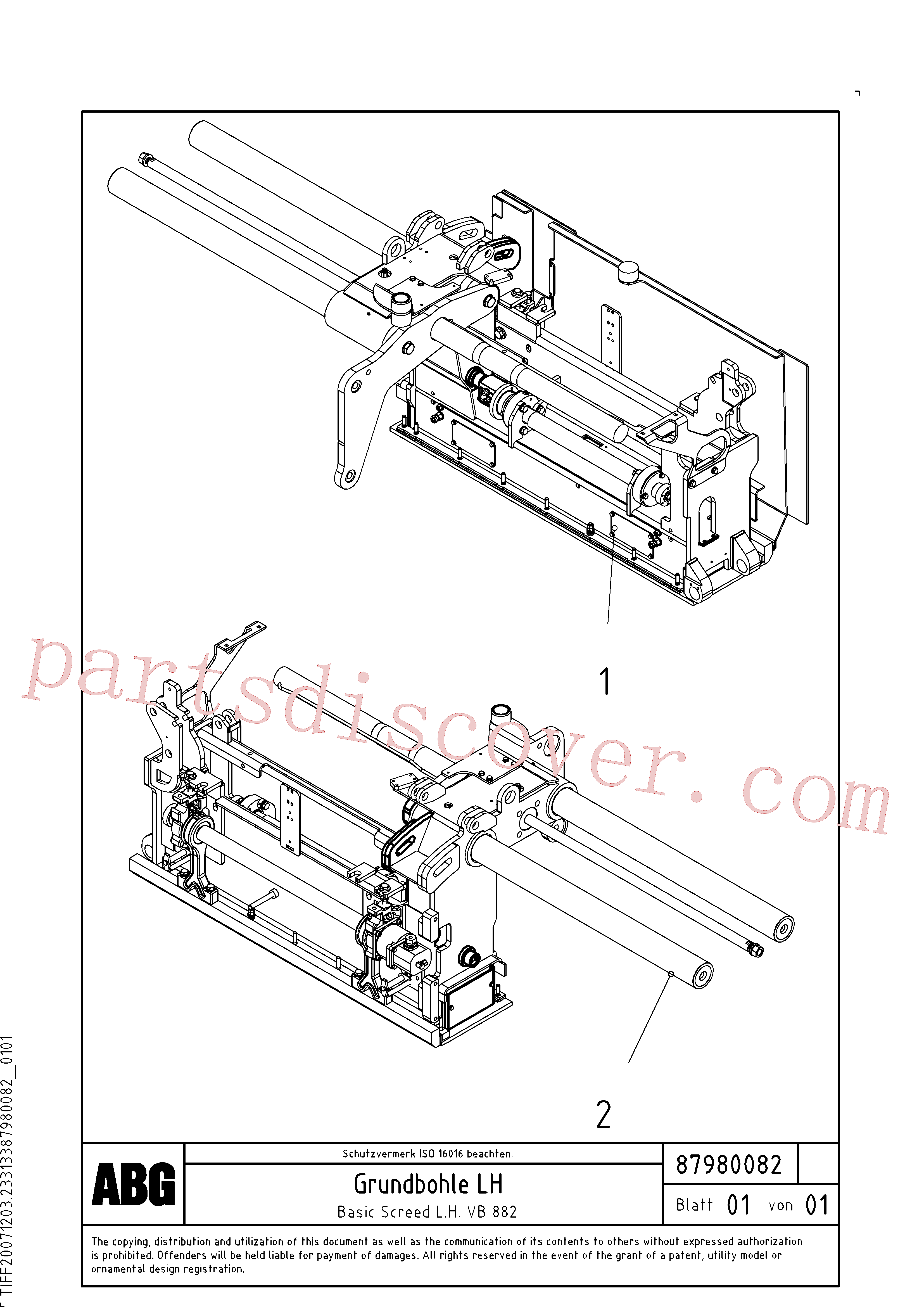RM87980033 for Volvo Basic screed(1048233 assembly)