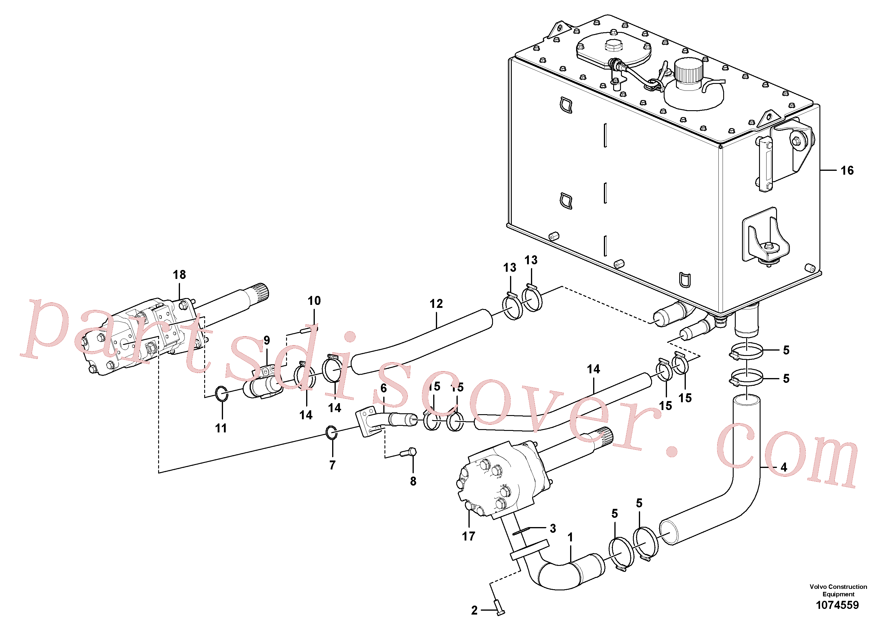 SA9511-12044 for Volvo Suction line, tank - pump(1074559 assembly)