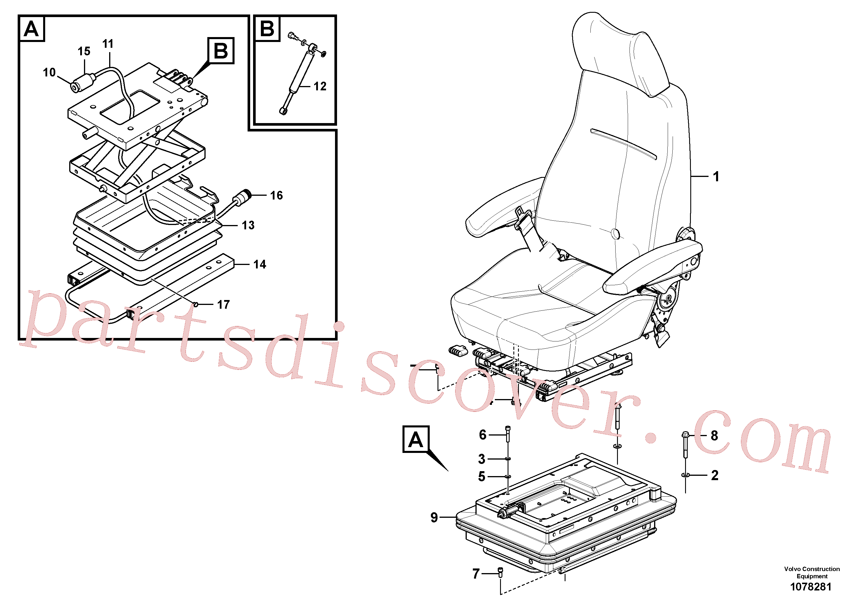 VOE60113300 for Volvo Operator seat with fitting parts(1078281 assembly)