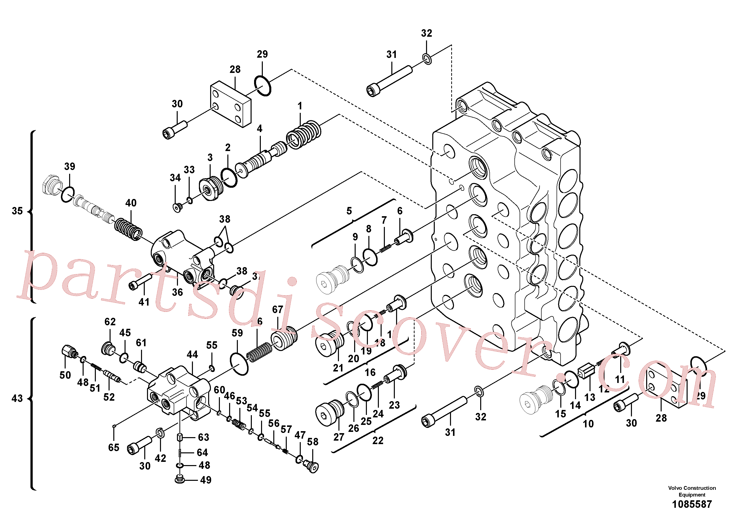 VOE14541901 for Volvo Main control valve(1085587 assembly)