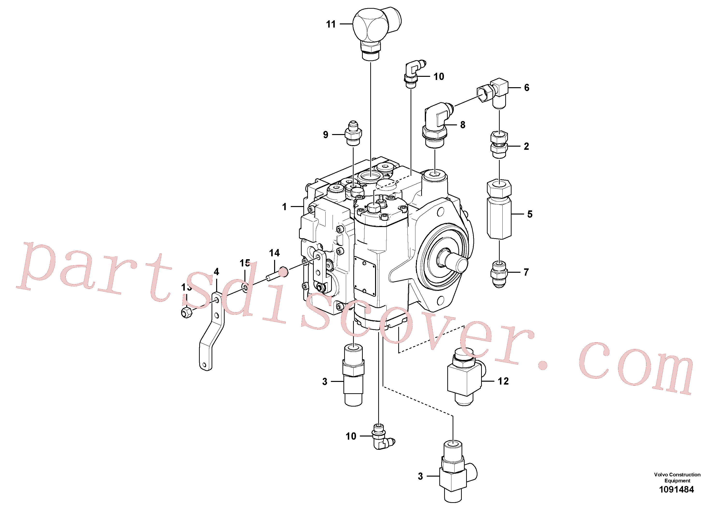 RM95829263 for Volvo Hydraulic pump with fitting parts(1091484 assembly)