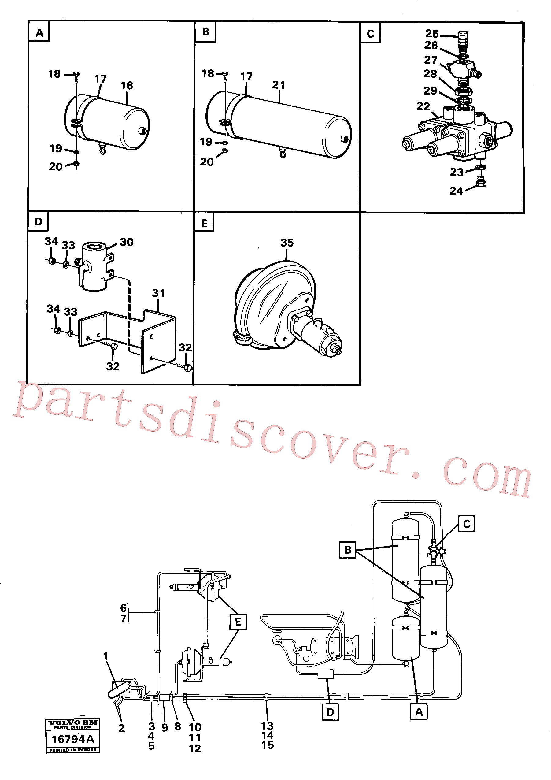 VOE955782 for Volvo Pneumatic system with componets(16794A assembly)