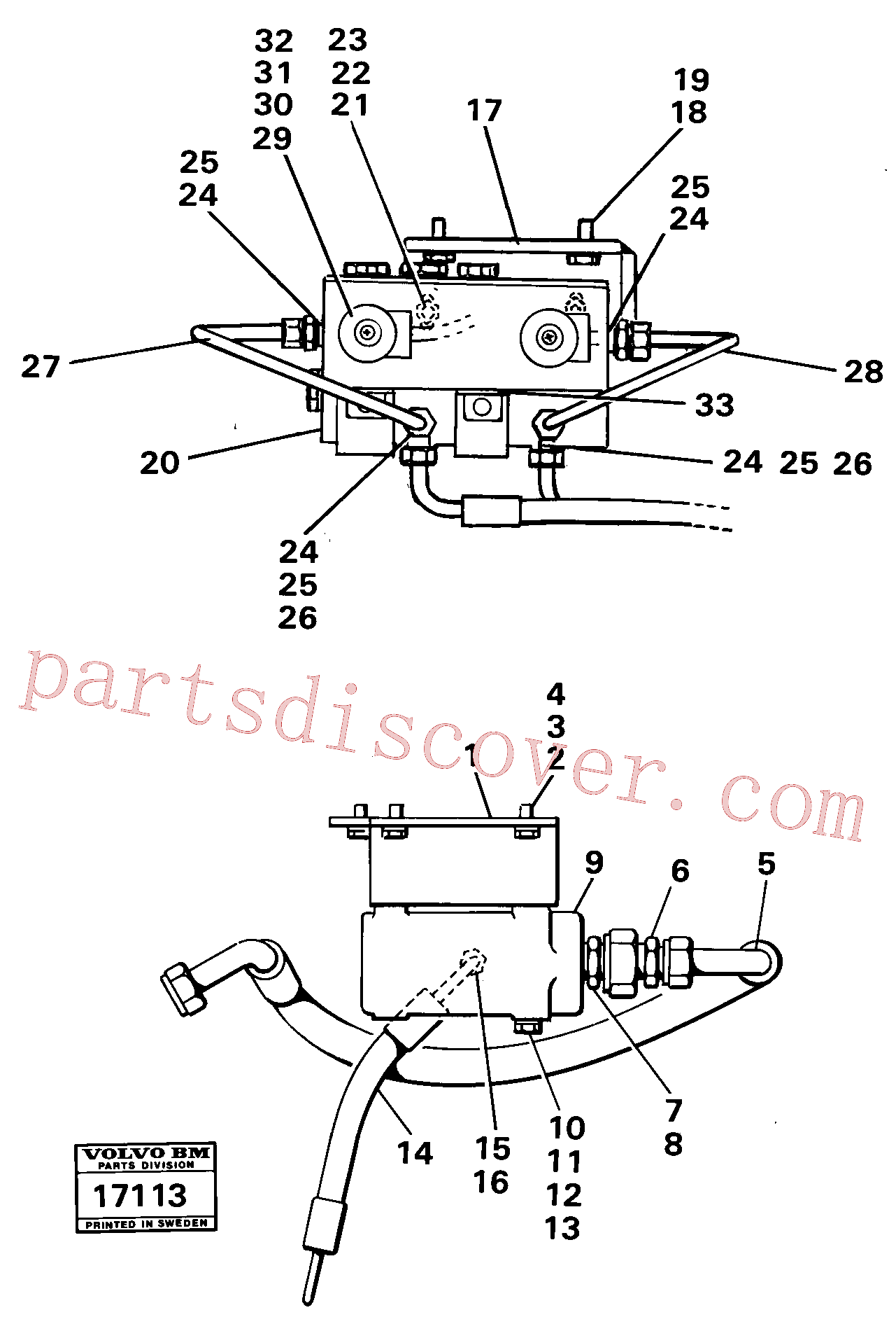 VOE13963958 for Volvo Valves with connections 99393 Tillv.nr 2224-(17113 assembly)