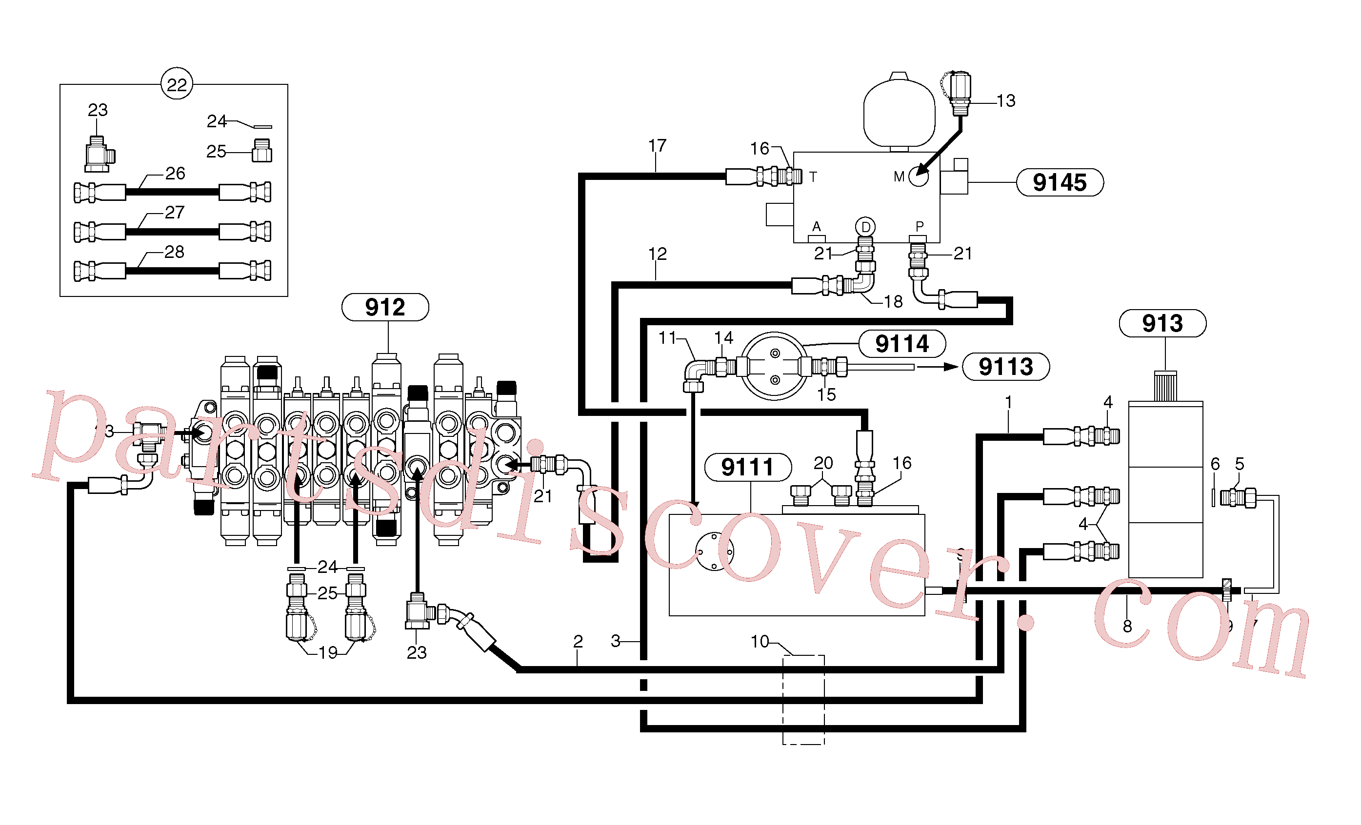 PJ4192441 for Volvo Attachments supply and return circuit(9112X1 assembly)