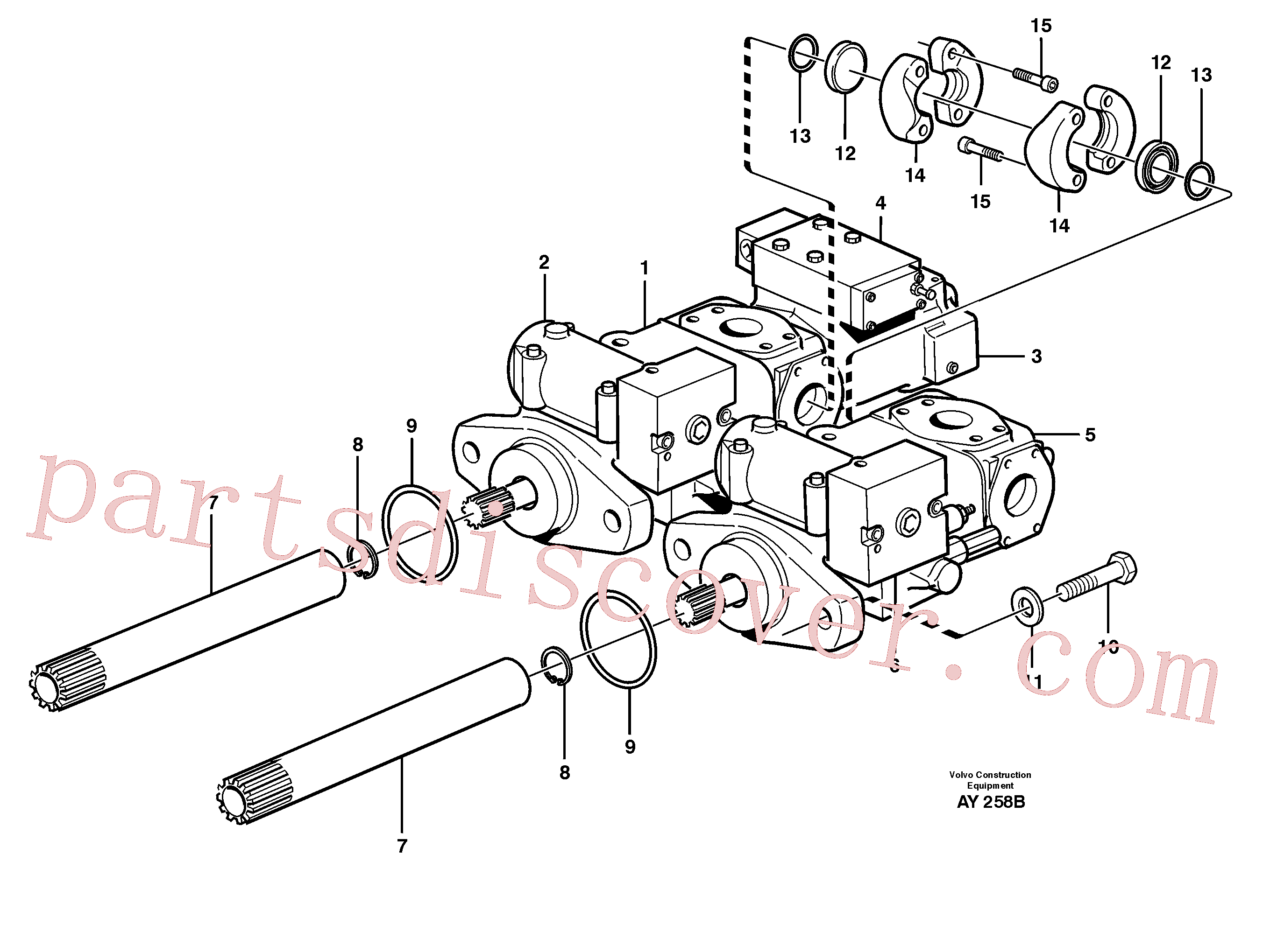 VOE930845 for Volvo Hydraulic pump with fitting parts(AY258B assembly)