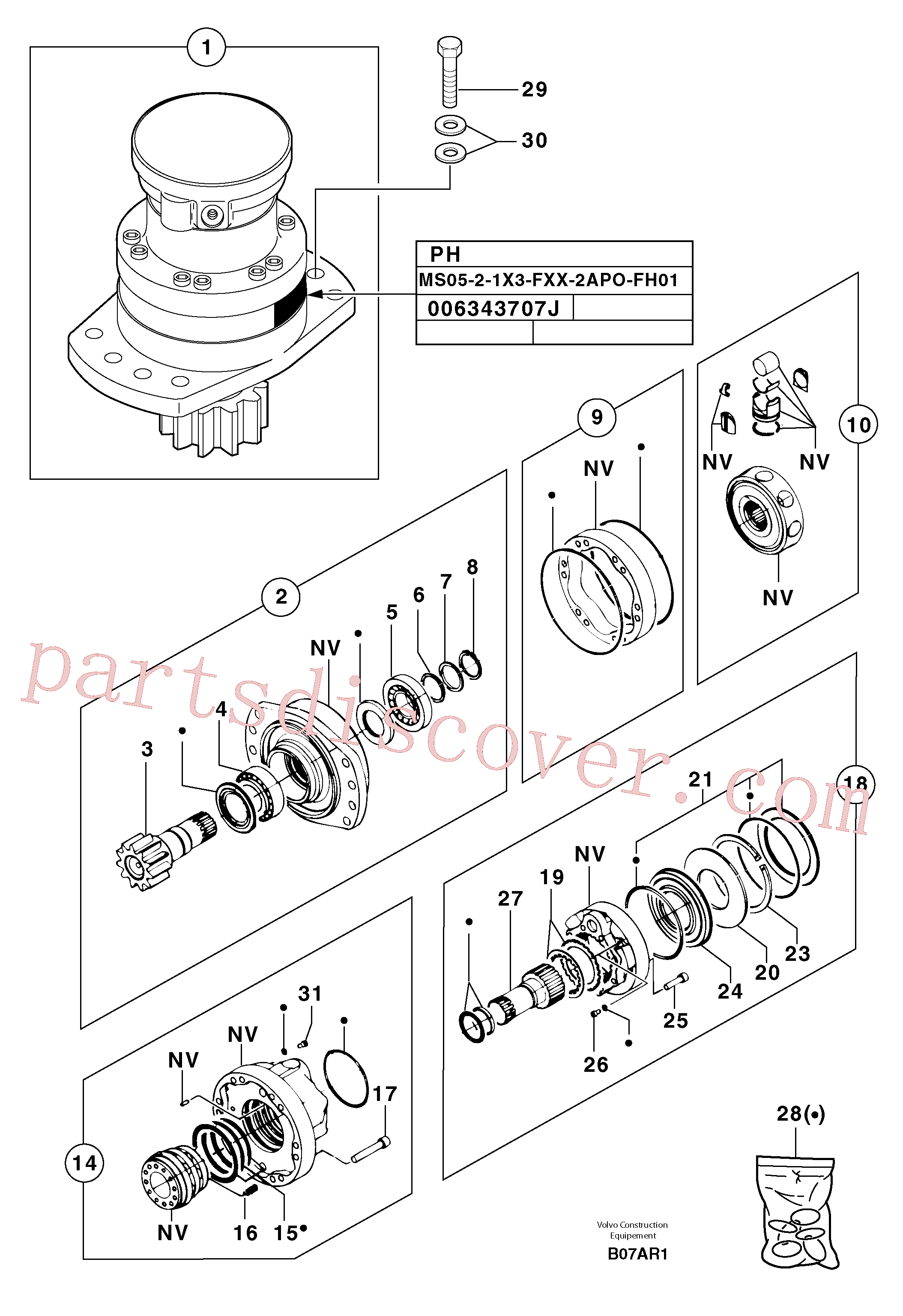 PJ7416998 for Volvo Slewing gear motor(B07AR1 assembly)