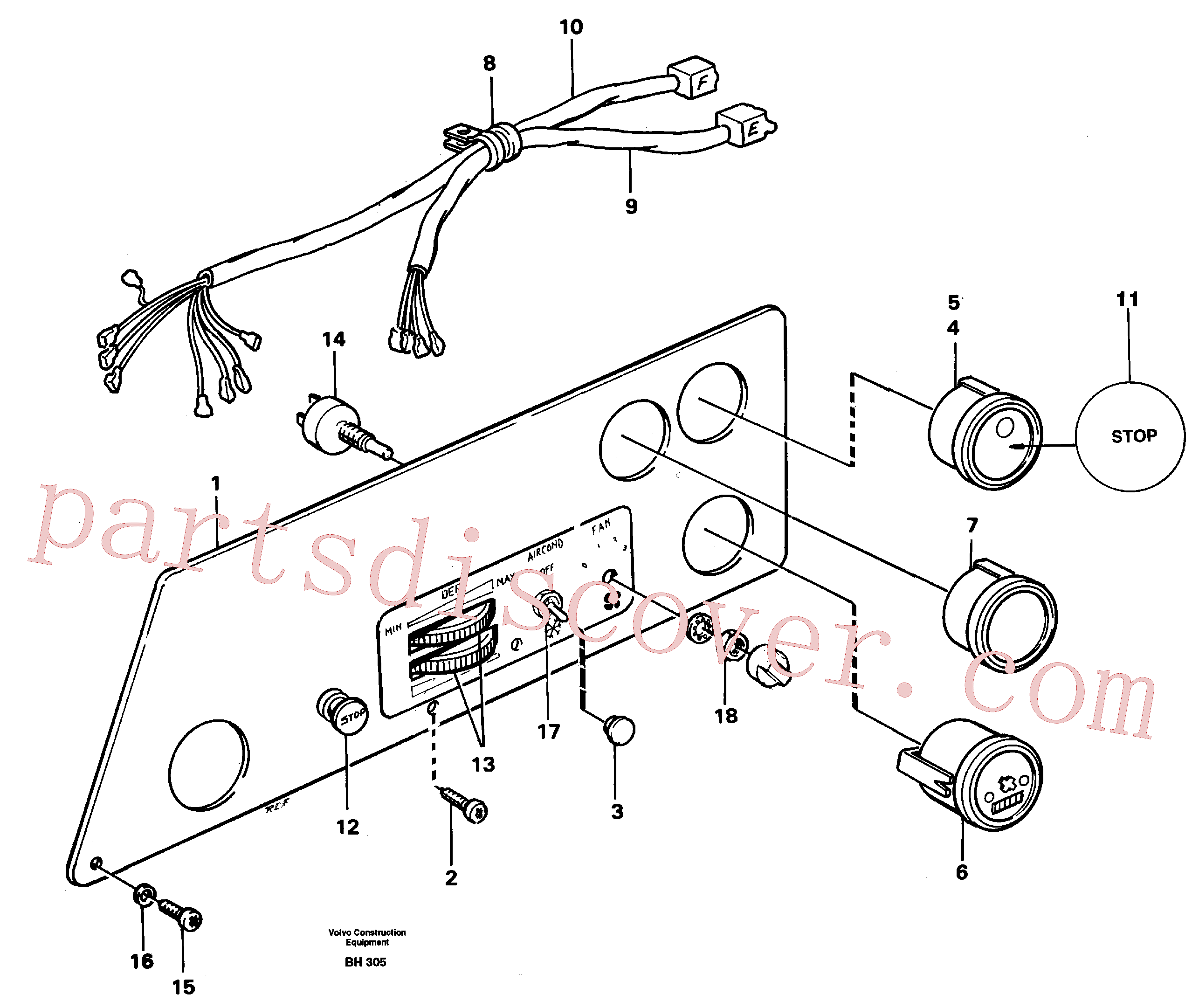VOE13947361 for Volvo Instrument panel, left(BH305 assembly)