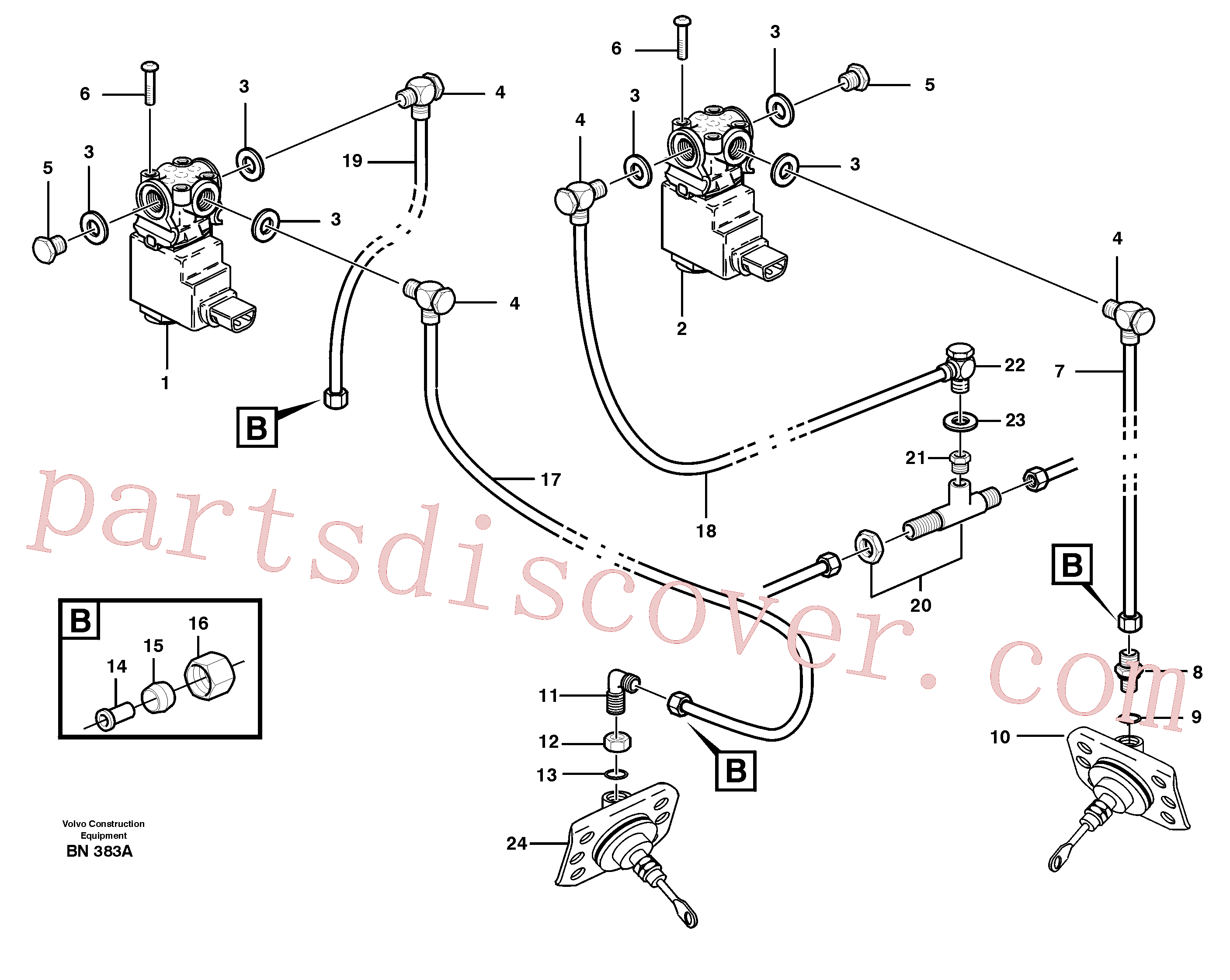VOE960629 for Volvo Pneumatic system, diff lock, cab(BN383A assembly)