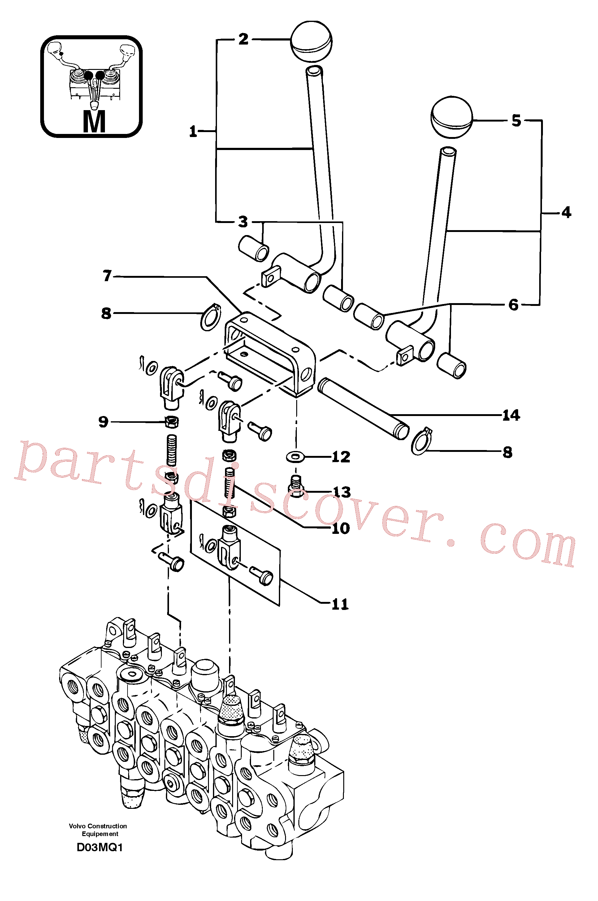 VOE914450 for Volvo Control levers : travelling(D03MQ1 assembly)
