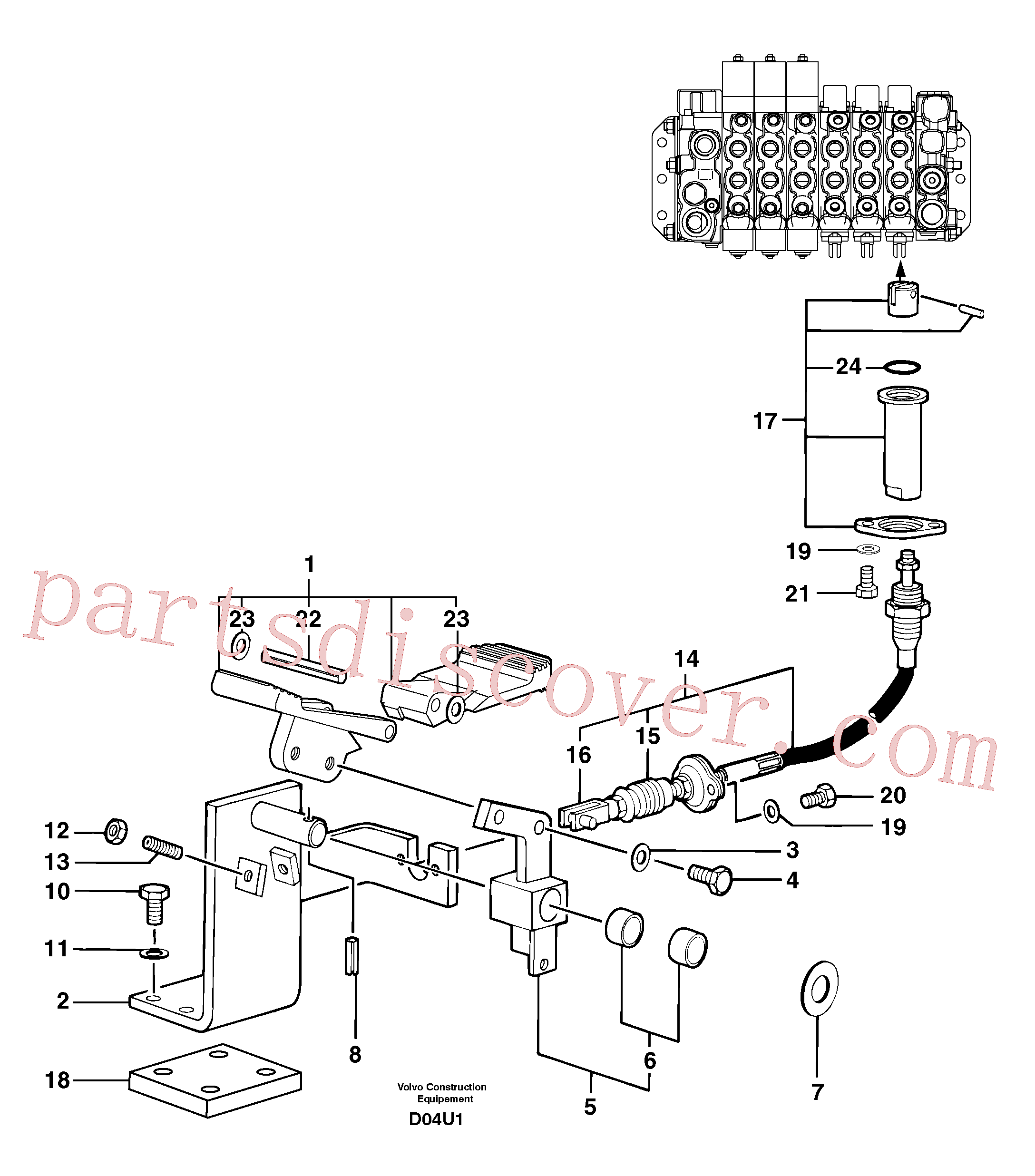 PJ7416654 for Volvo Control pedal : accessories on attachment - 90 l/m(D04U1 assembly)