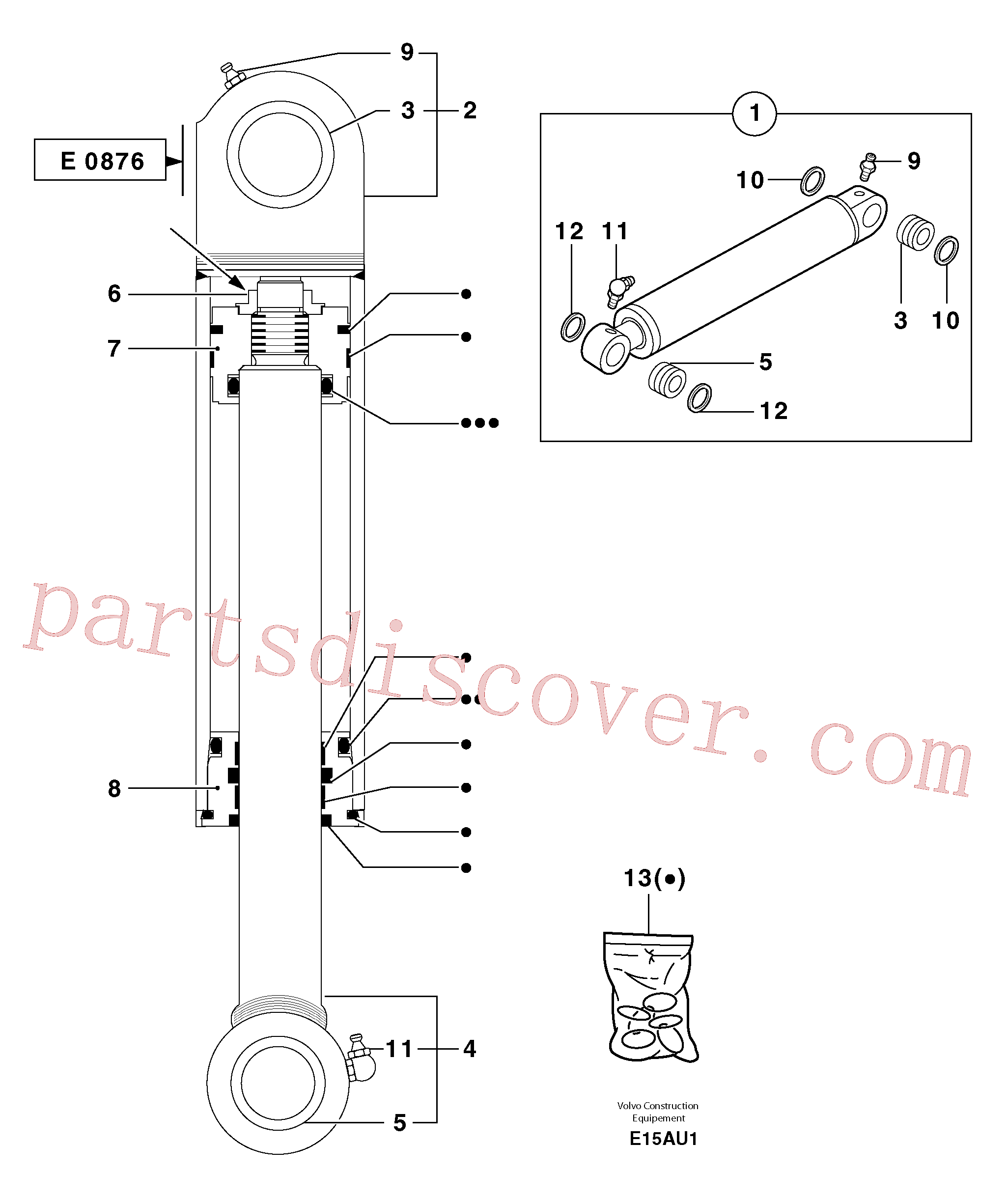 PJ6140041 for Volvo Bucket cylinder(E15AU1 assembly)