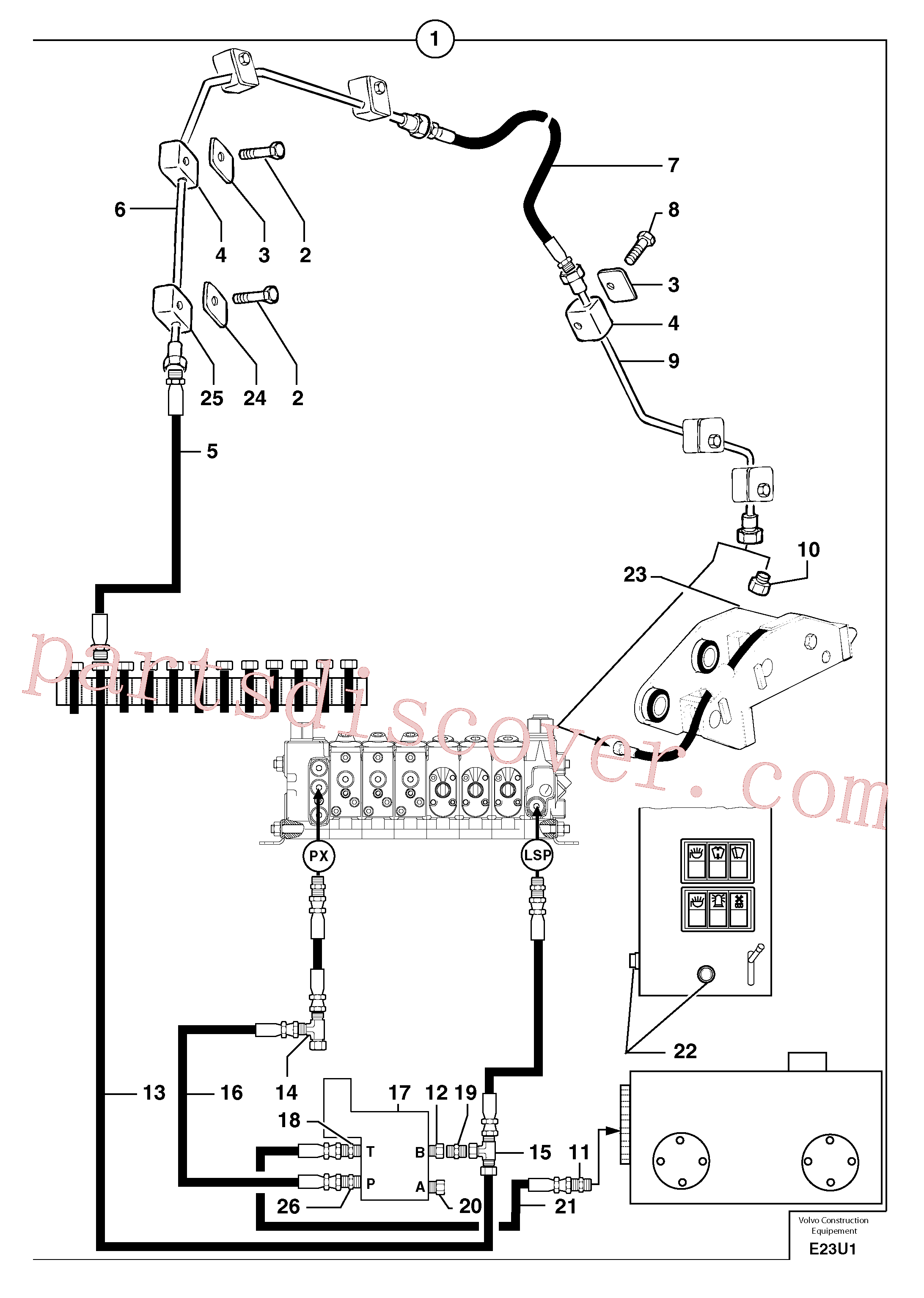 PJ5900274 for Volvo Hydraulic circuit ( snap-action attachment )(E23U1 assembly)