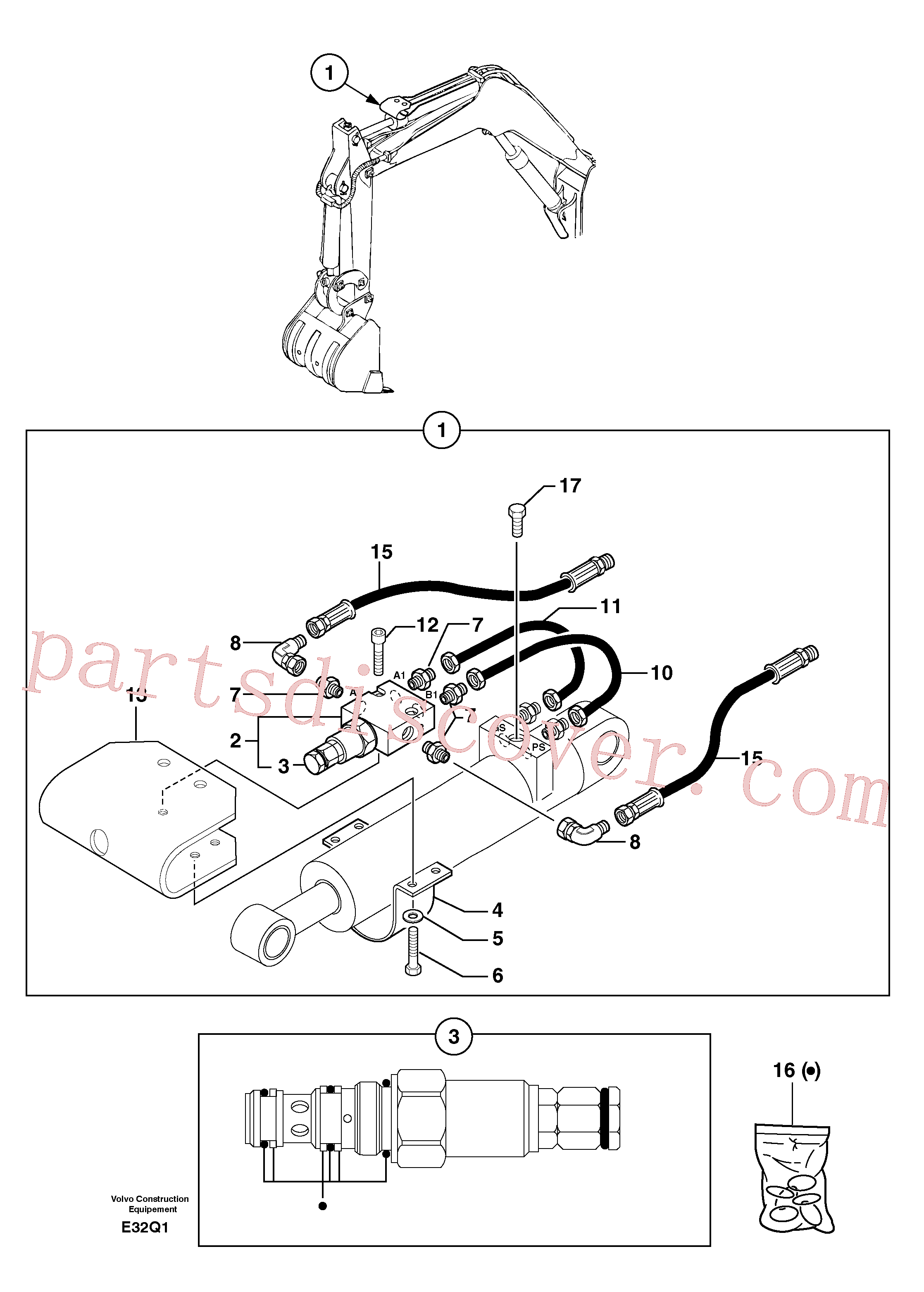 PJ5960046 for Volvo Safety valve ( dipper arm cylinder )(E32Q1 assembly)