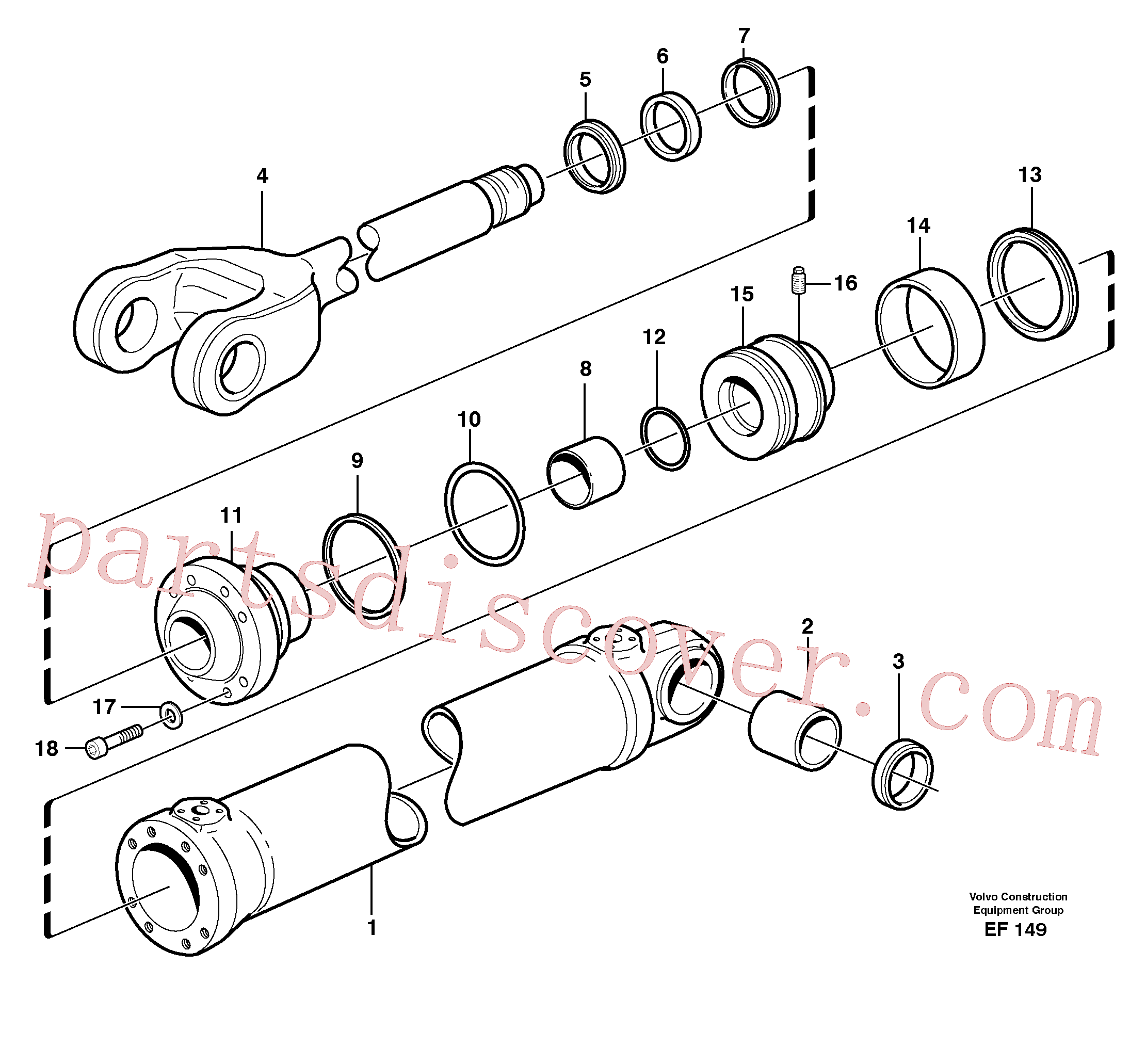 VOE941912 for Volvo Hydraulic cylinder, lifting(EF149 assembly)