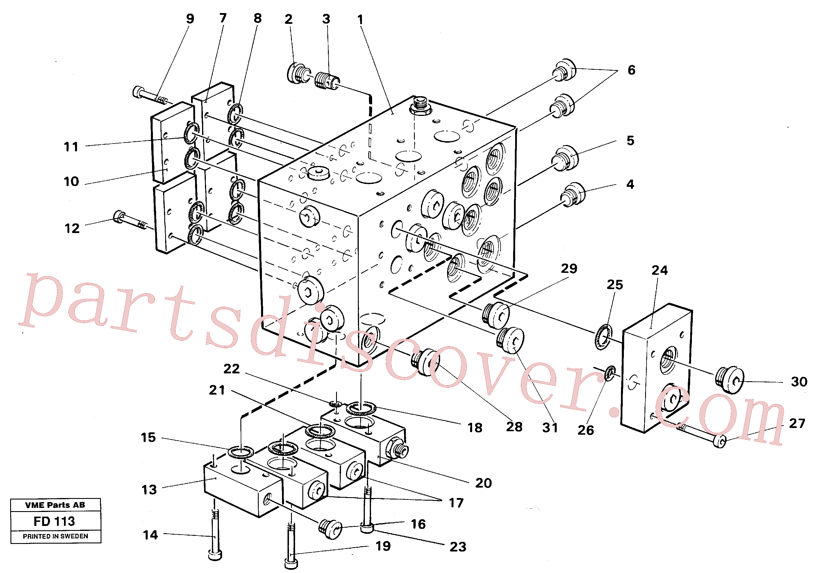 VOE14024363 for Volvo Slew valve assembly block(FD113 assembly)