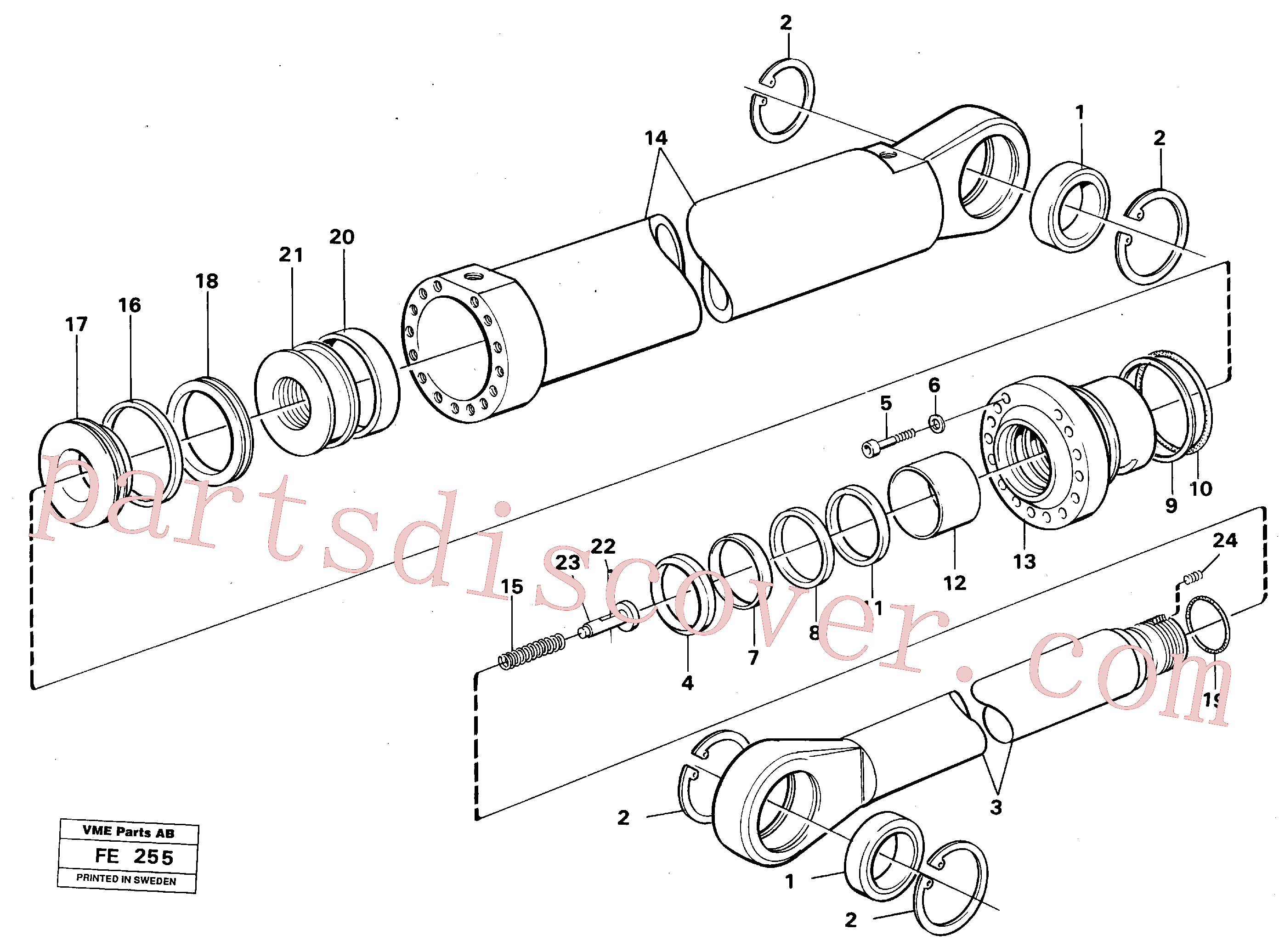 VOE14231655 for Volvo Boom- and bucket cylinder(FE255 assembly)