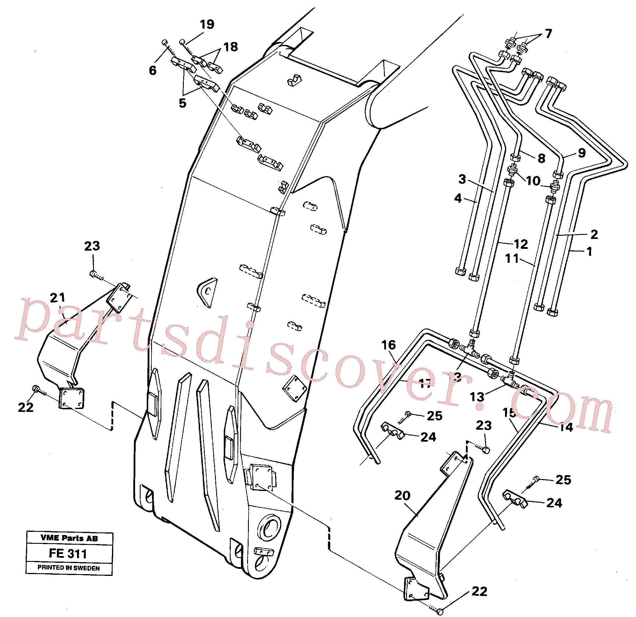 VOE14230320 for Volvo Hydraulic system, dipper arm, face shovel equipment(FE311 assembly)