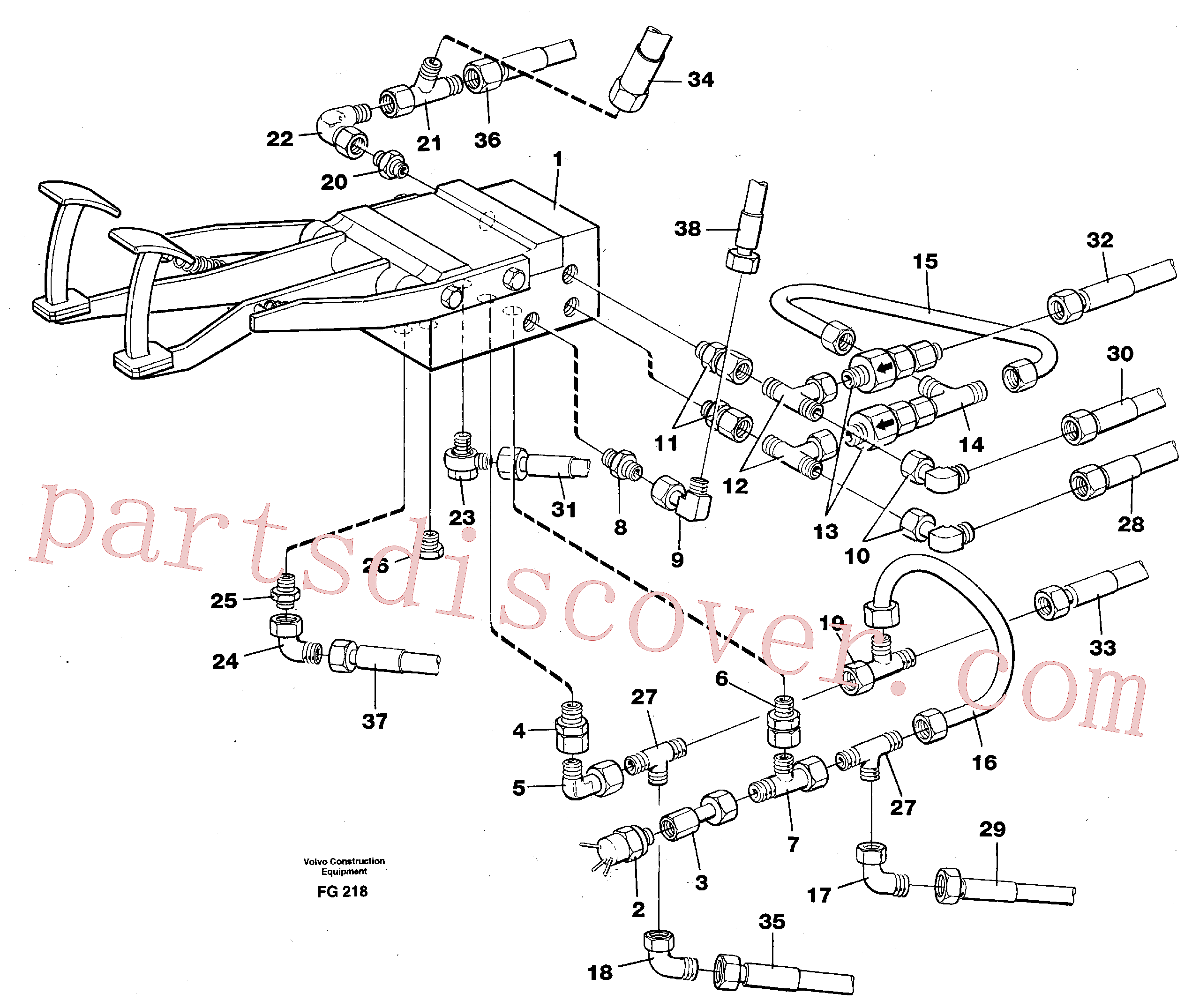 VOE14047309 for Volvo Pedal valve with connections(FG218 assembly)